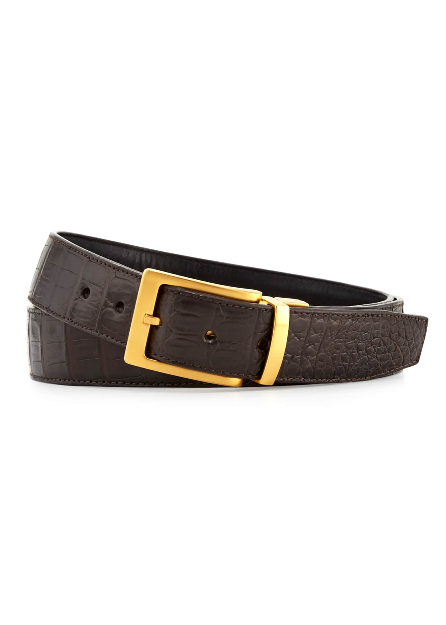 Image 3 of 3: Reversible Crocodile & Leather Belt Two-Buckle Box Set