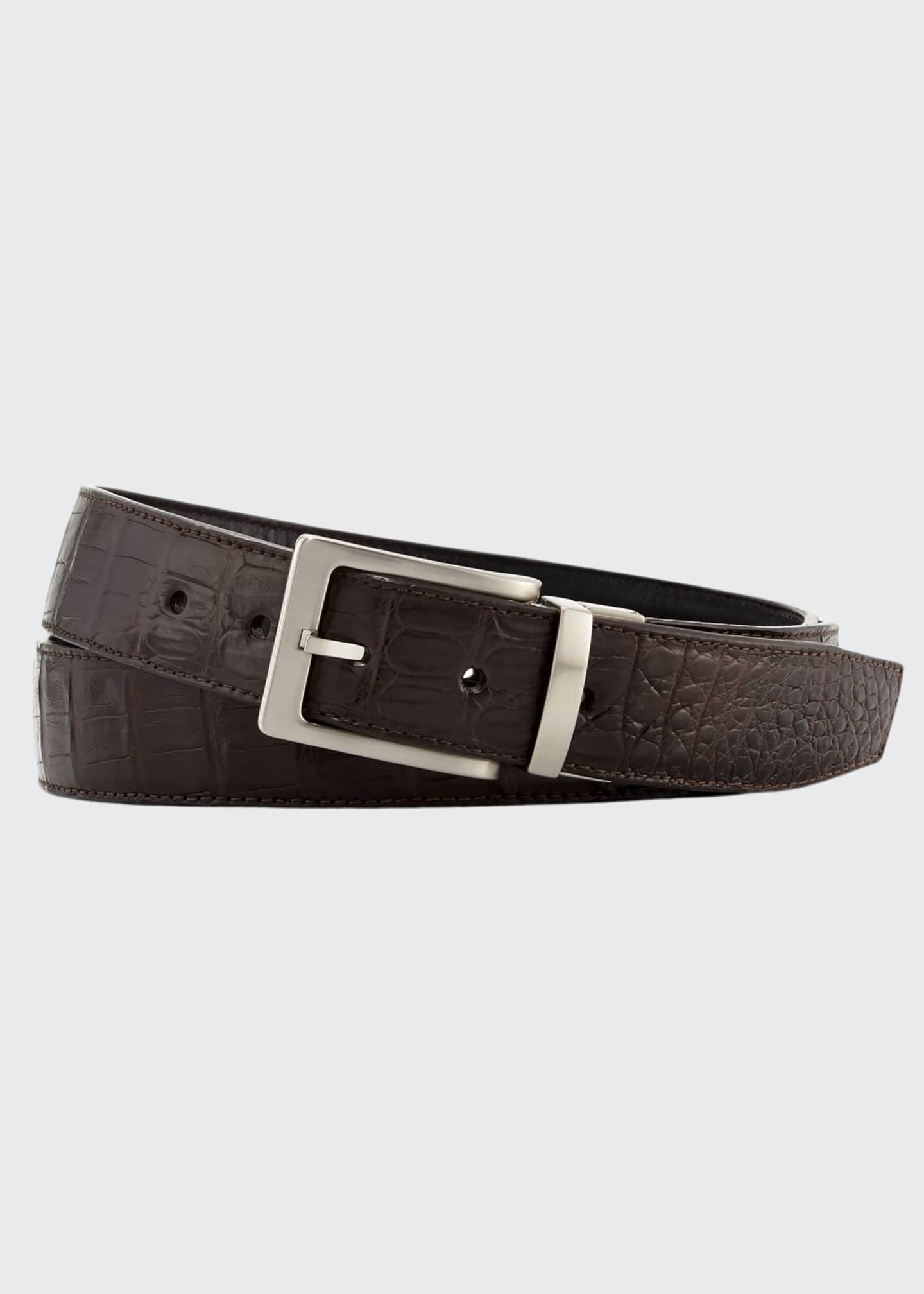 Image 1 of 3: Reversible Crocodile & Leather Belt Two-Buckle Box Set
