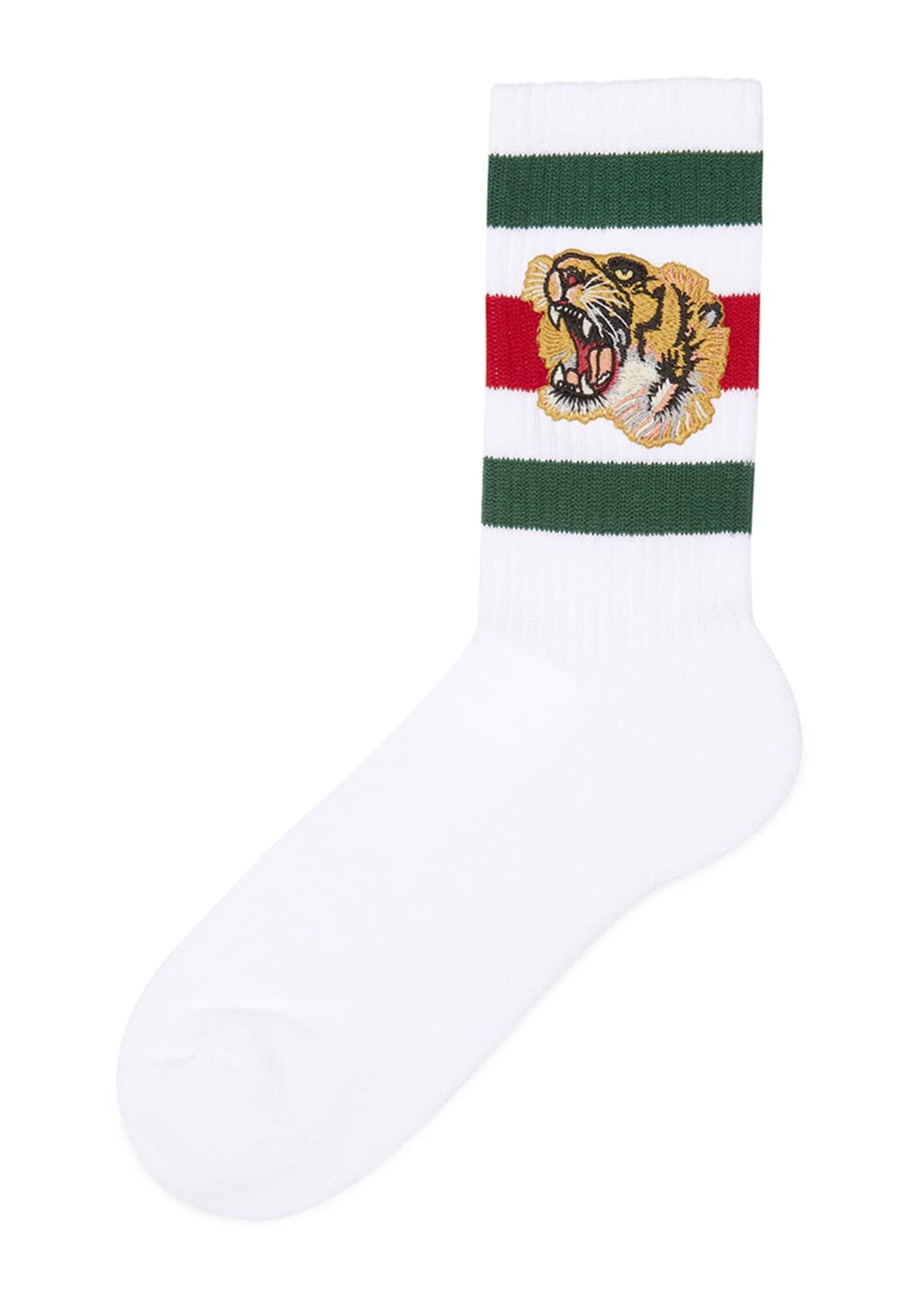 Gucci Stretch-Cotton Socks w/Tiger