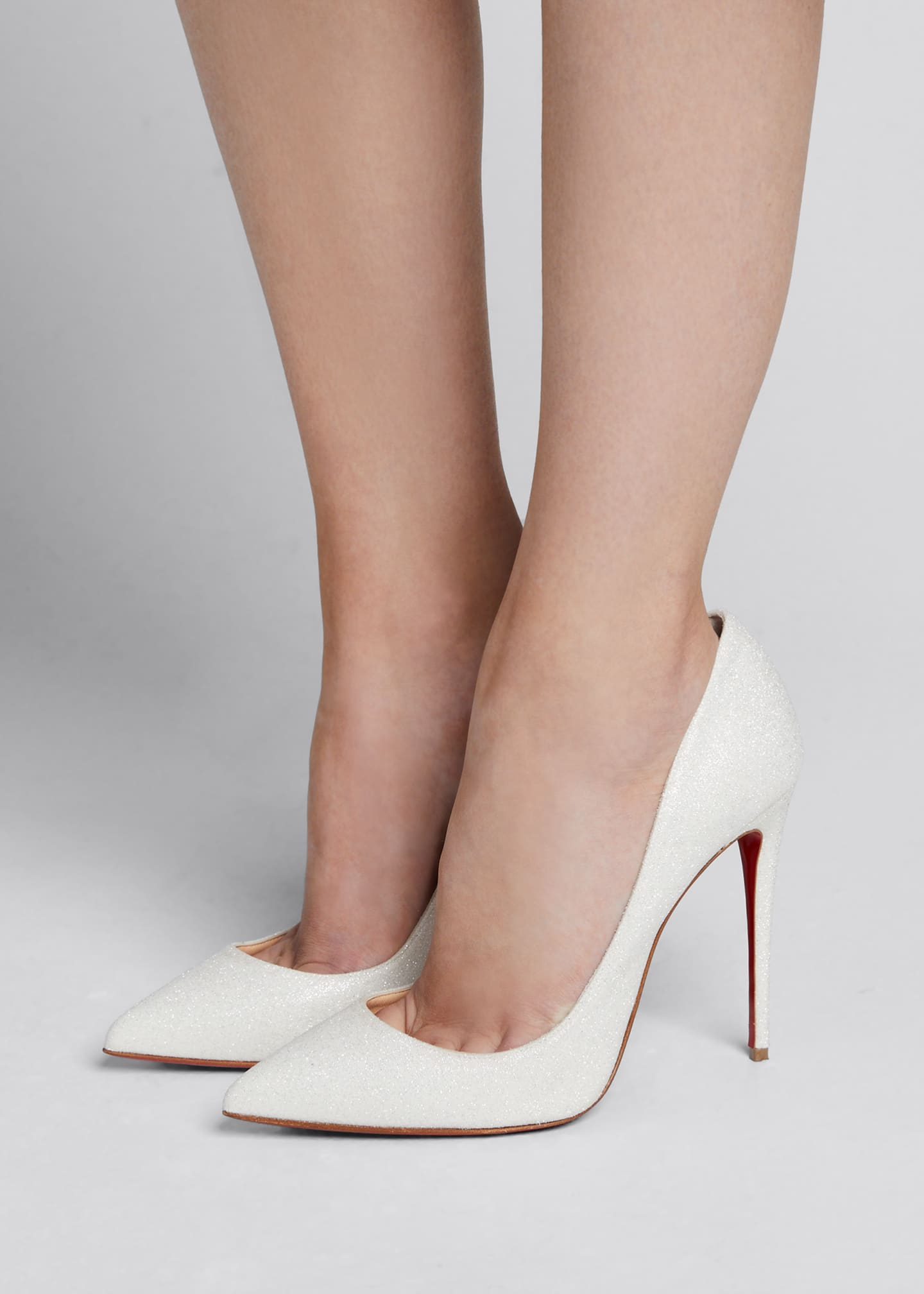 Image 2 of 5: Pigalle Follies Glittered Red Sole Pumps, White