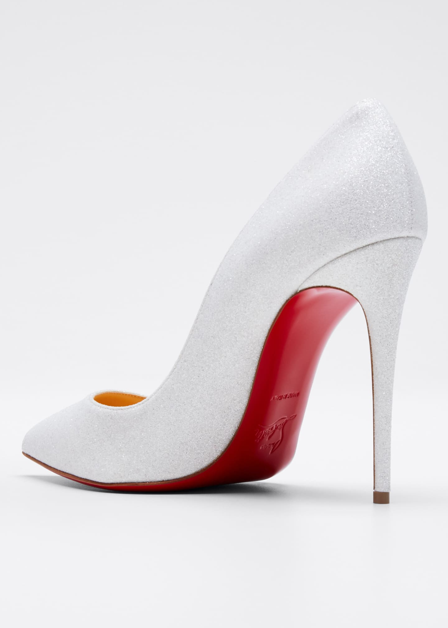 Image 4 of 5: Pigalle Follies Glittered Red Sole Pumps, White