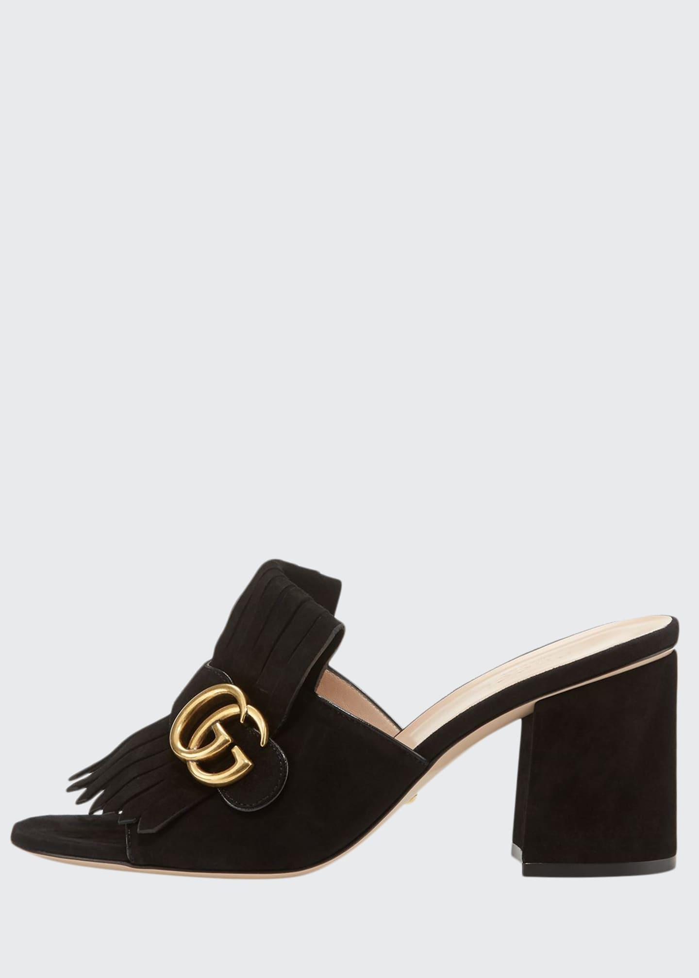 Gucci Marmont Suede Kiltie Mule, Black