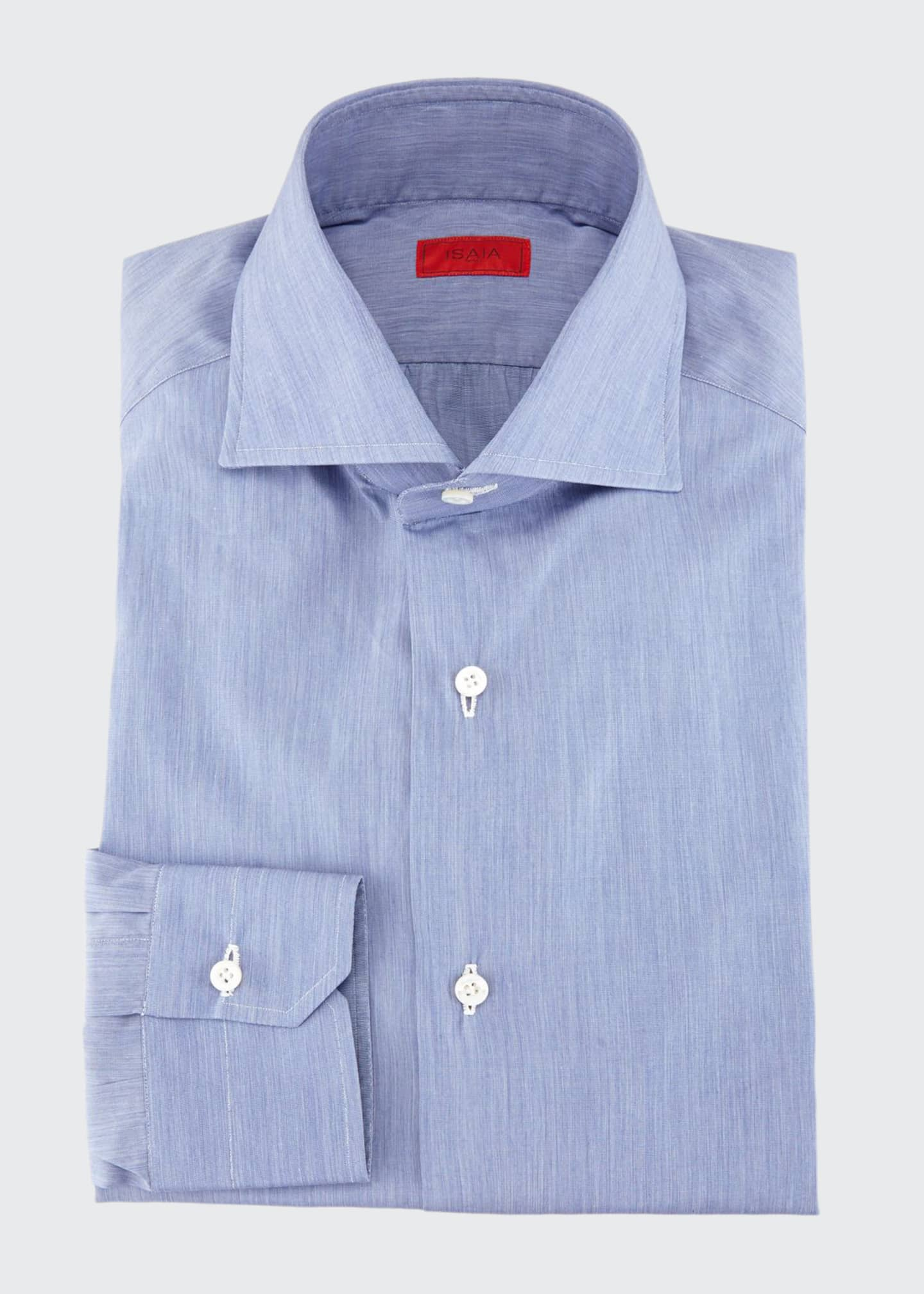 Image 1 of 2: Slim-Fit Basic Solid Cotton Dress Shirt