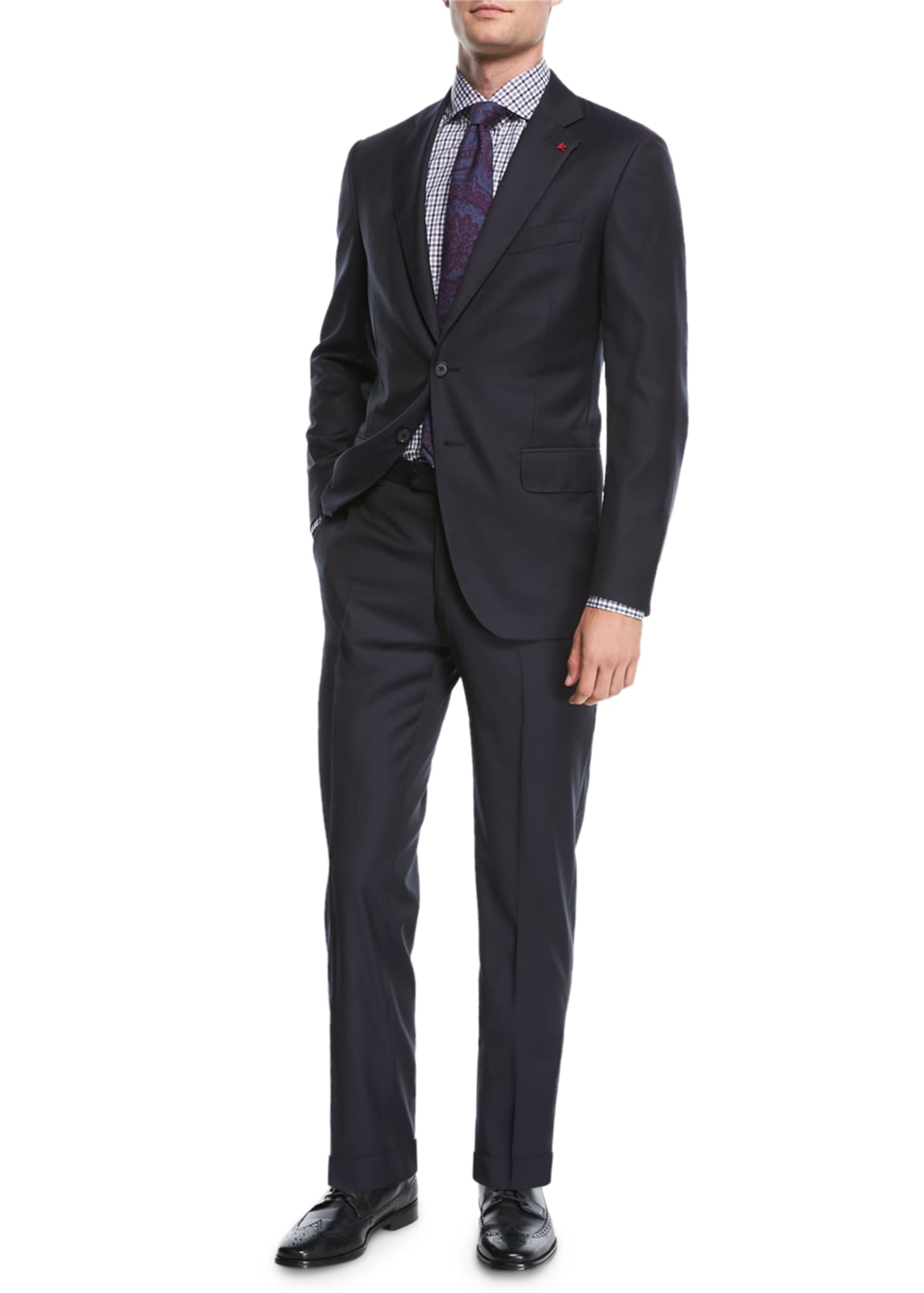 Image 3 of 4: Solid Wool Two-Piece Suit