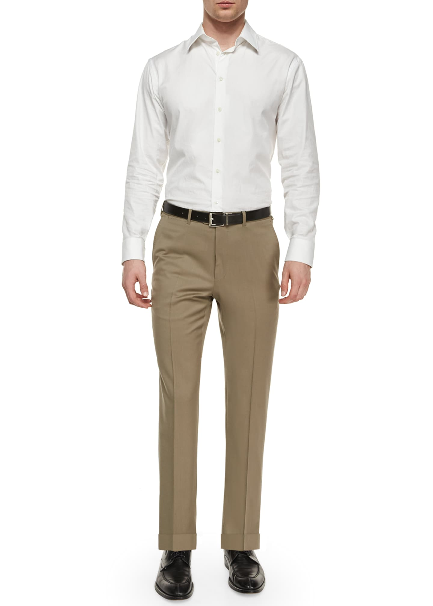 Image 2 of 3: Flat-Front Wool Regular-Fit Trousers, Taupe