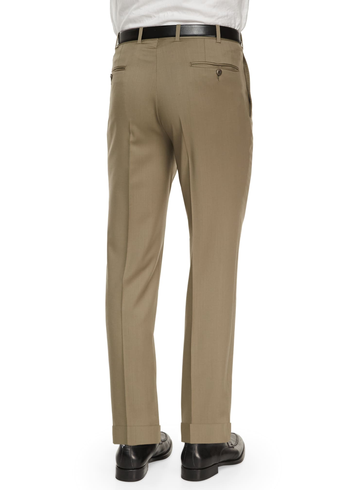 Image 3 of 3: Flat-Front Wool Regular-Fit Trousers, Taupe