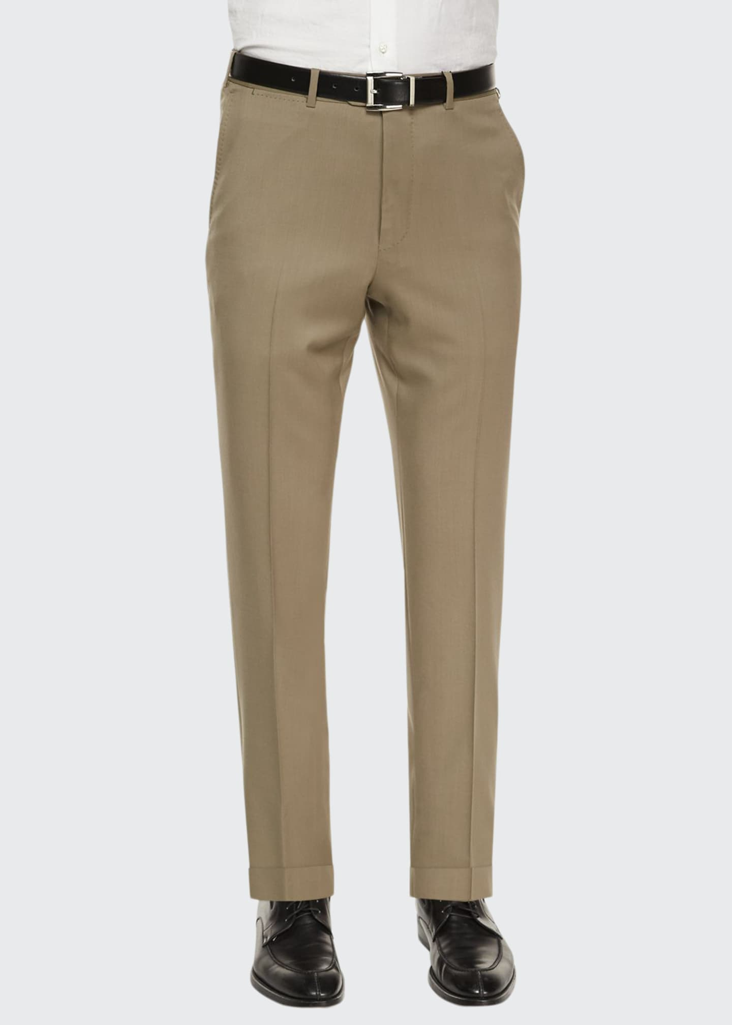 Image 1 of 3: Flat-Front Wool Regular-Fit Trousers, Taupe