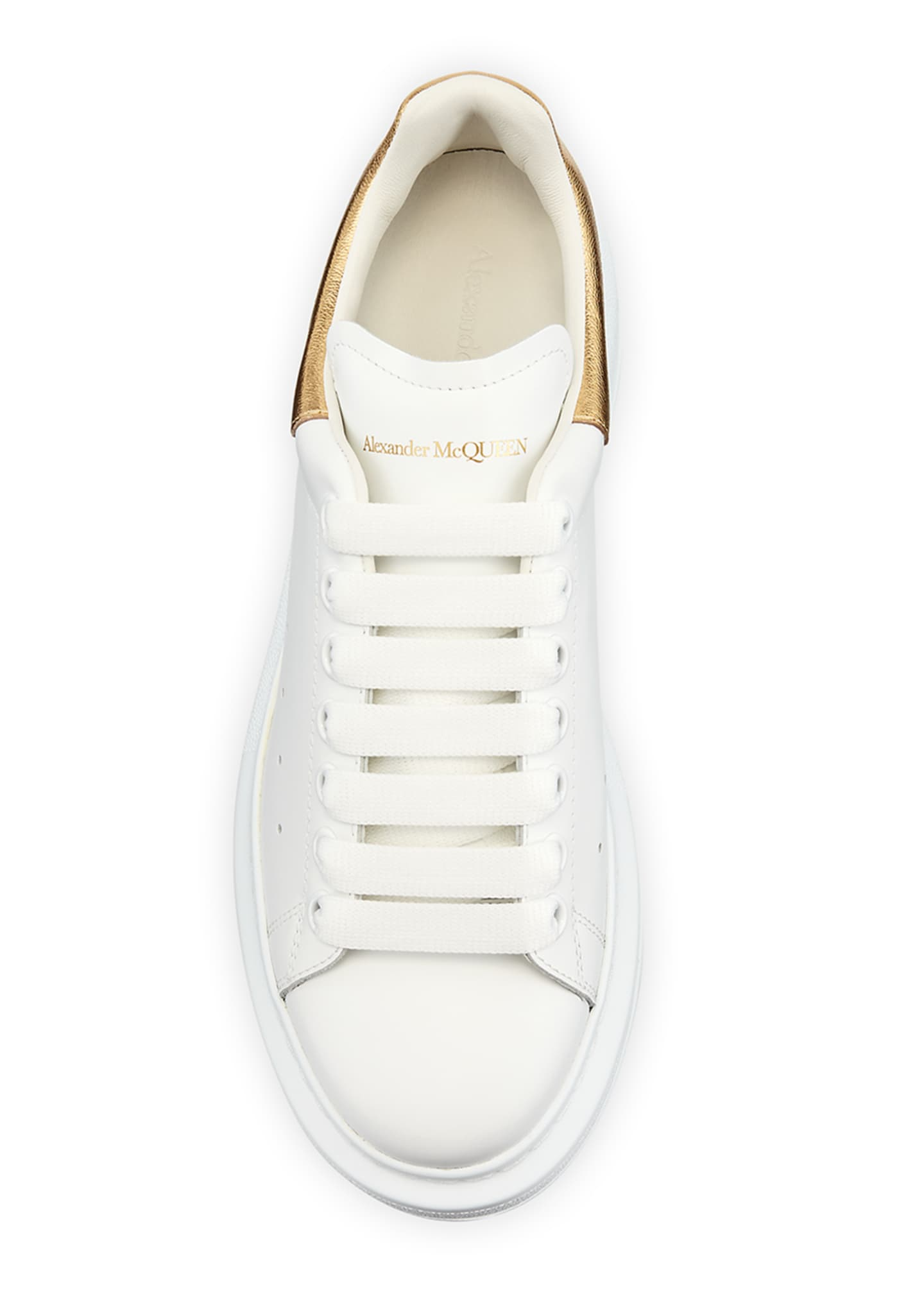 Image 2 of 4: Leather Lace-Up Platform Sneakers