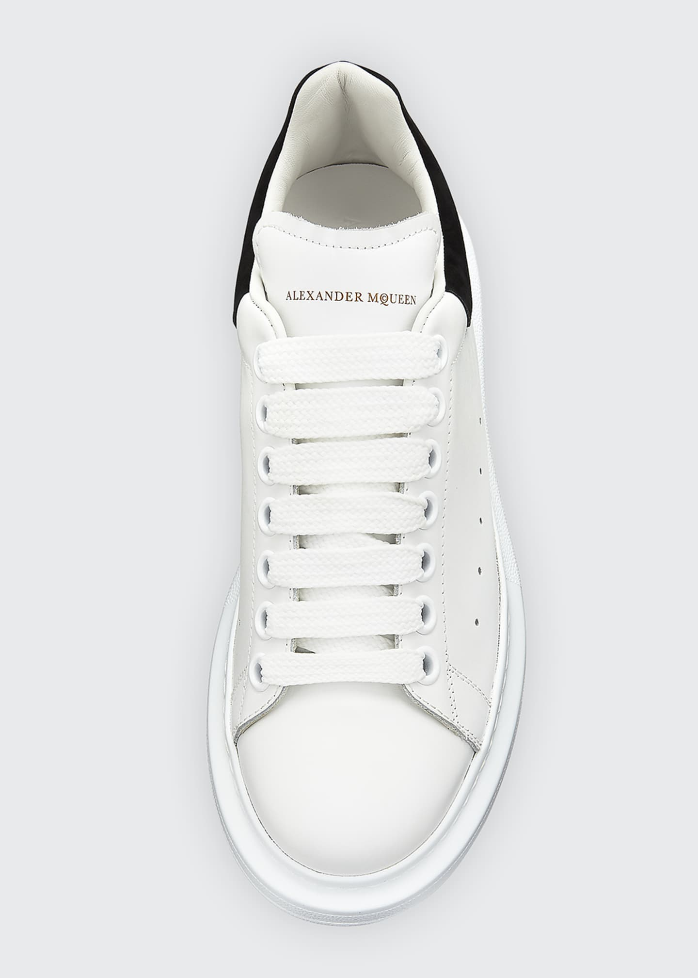 Image 3 of 4: Leather Lace-Up Platform Sneakers