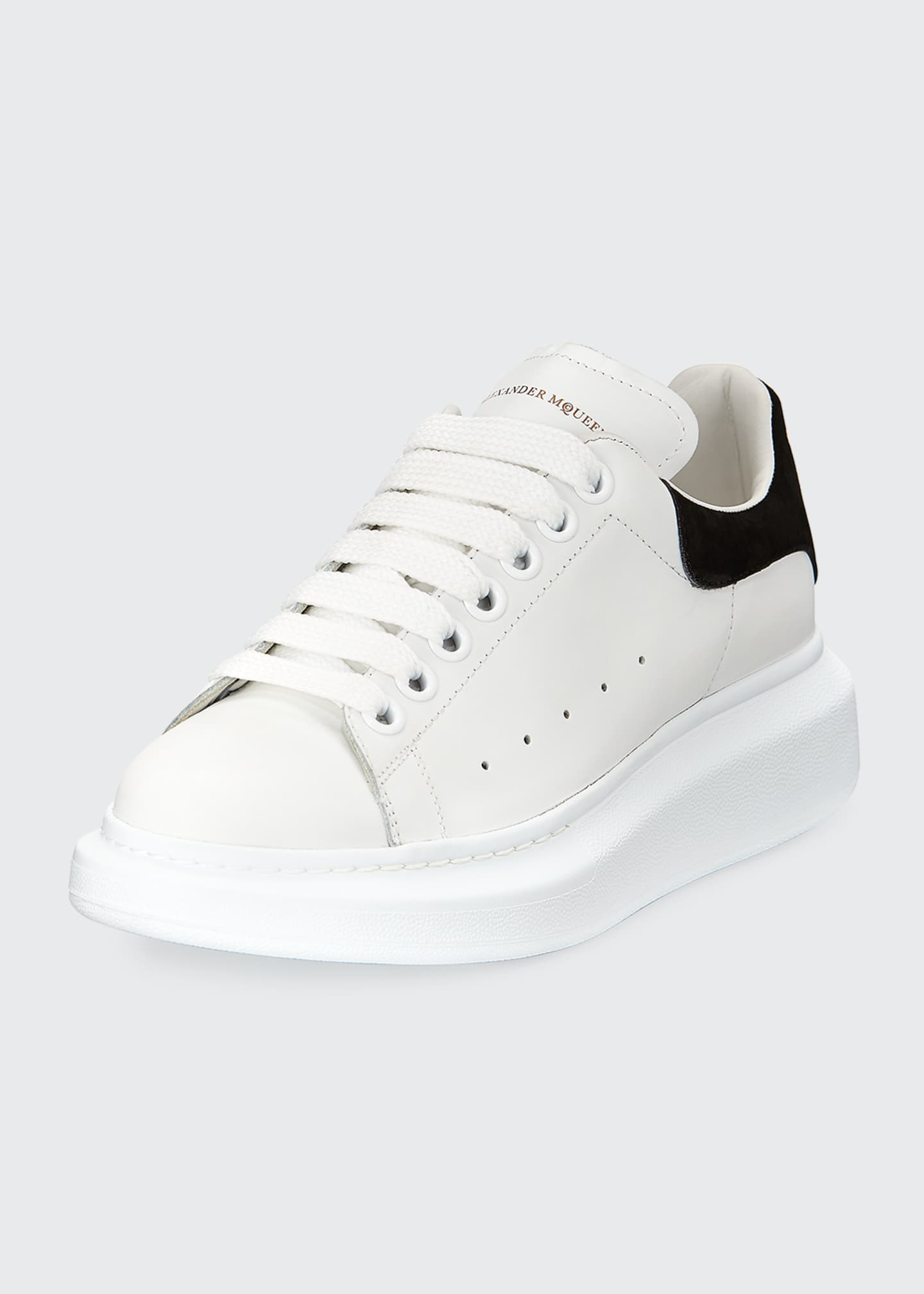 Image 1 of 4: Leather Lace-Up Platform Sneakers