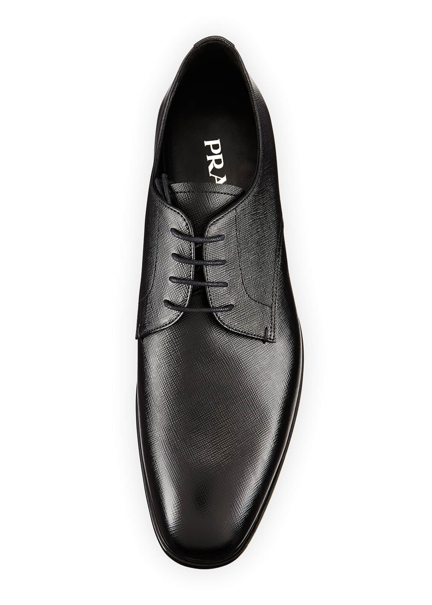 Image 2 of 4: Saffiano Leather Lace-Up, Black