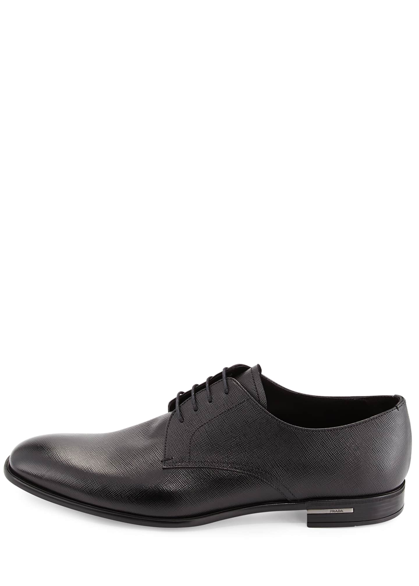Image 3 of 4: Saffiano Leather Lace-Up, Black