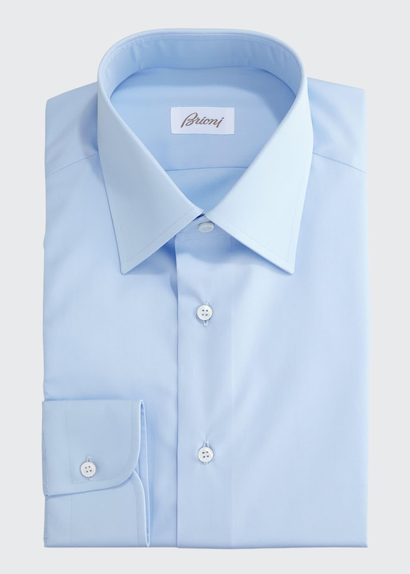 Brioni Wardrobe Essential Solid Dress Shirt, Blue