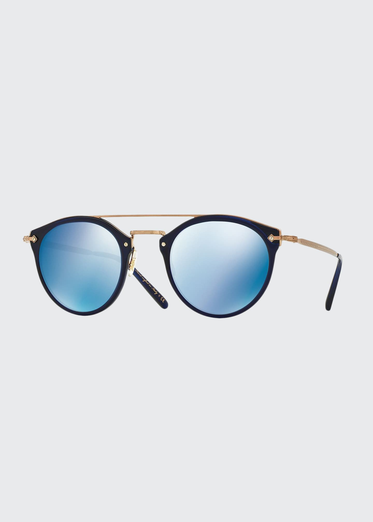 Image 1 of 1: Remick Mirrored Brow-Bar Sunglasses, Blue