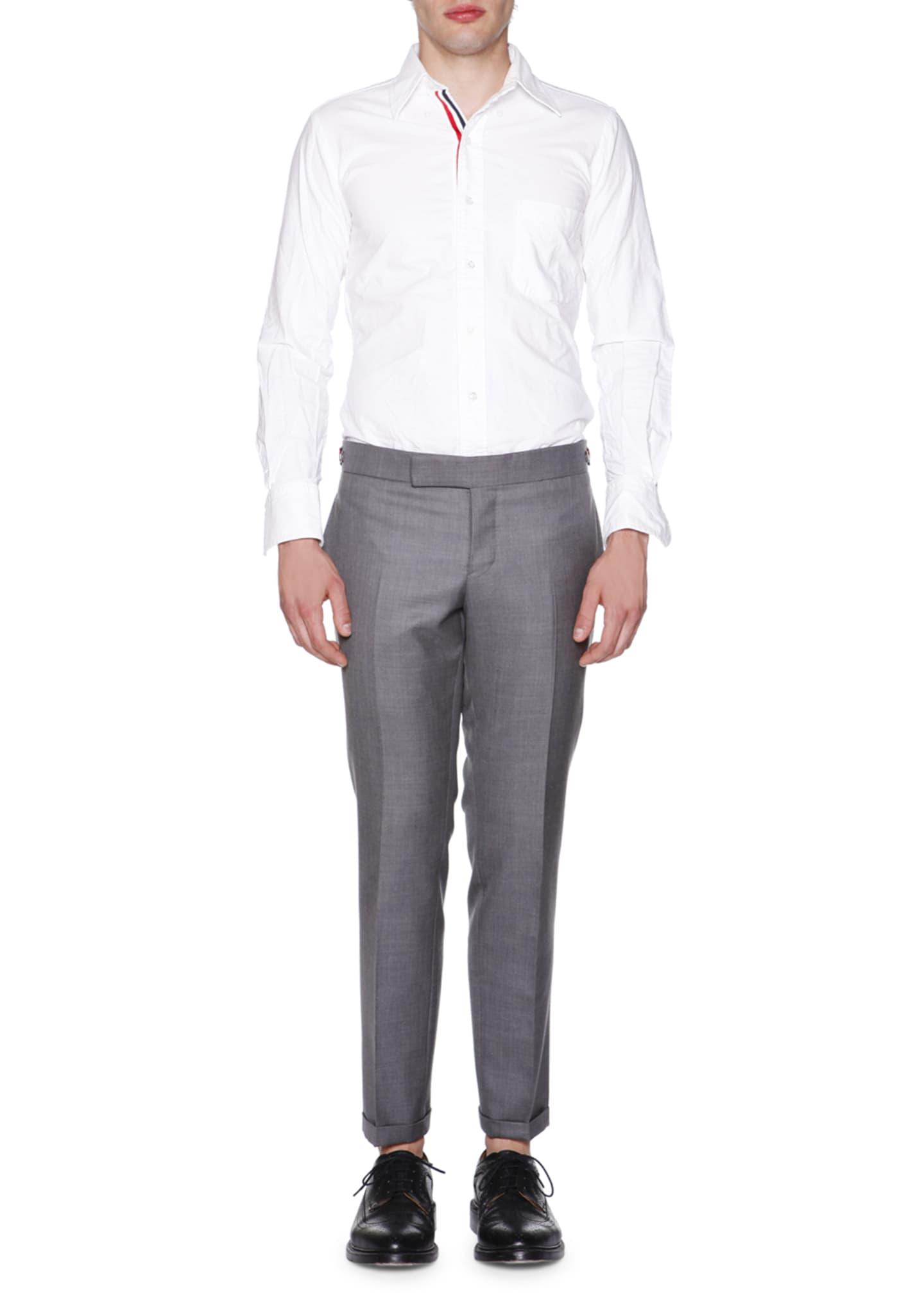Thom Browne Slim-Leg Flannel Trousers, Medium Gray