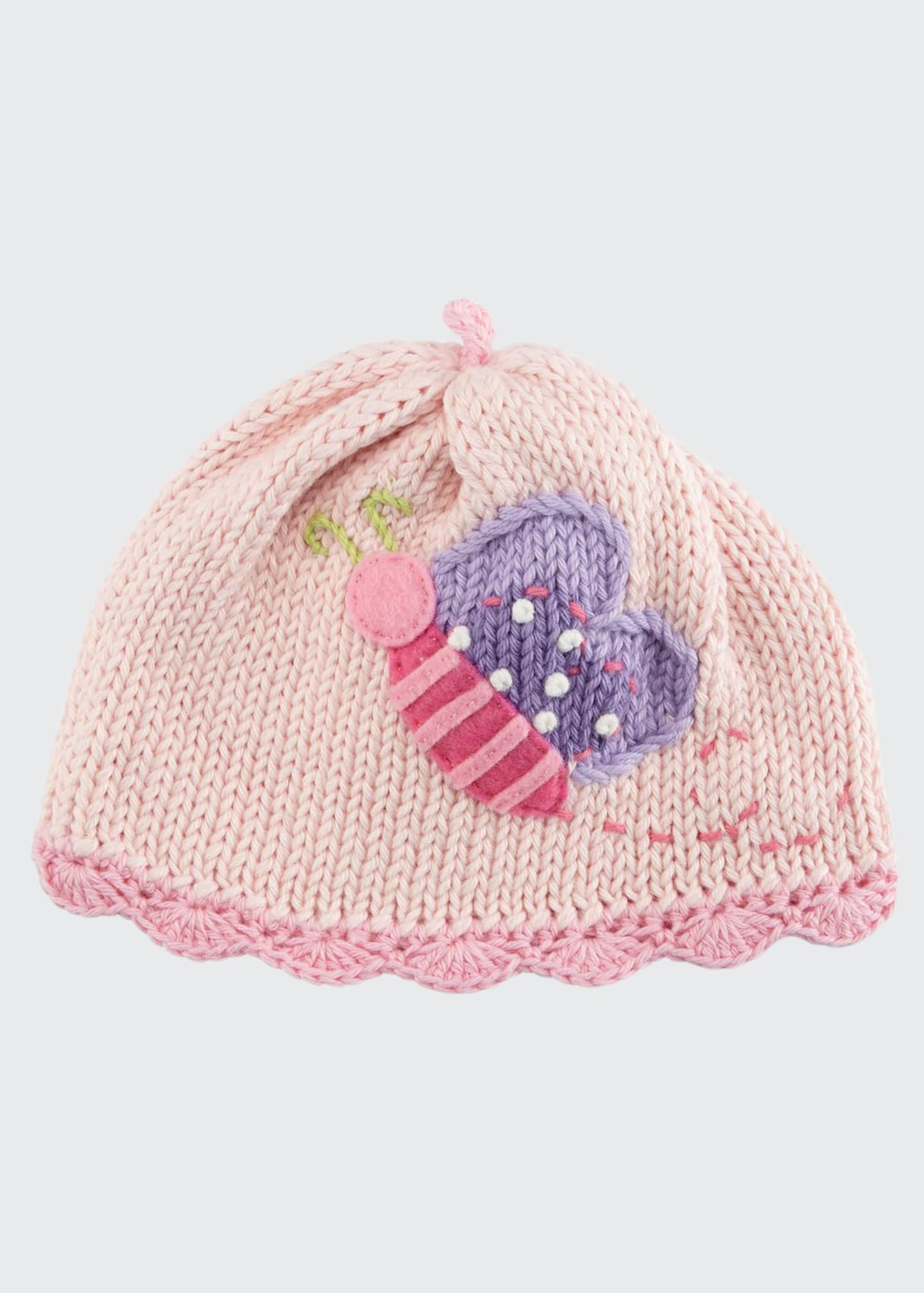 Image 1 of 1: Butterfly Knit Baby Hat, Pink