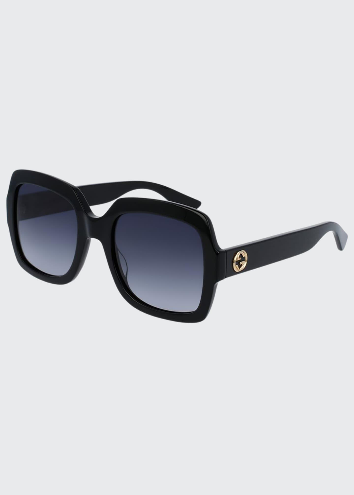 Gucci Classic Oversized Rectangular Sunglasses, Black
