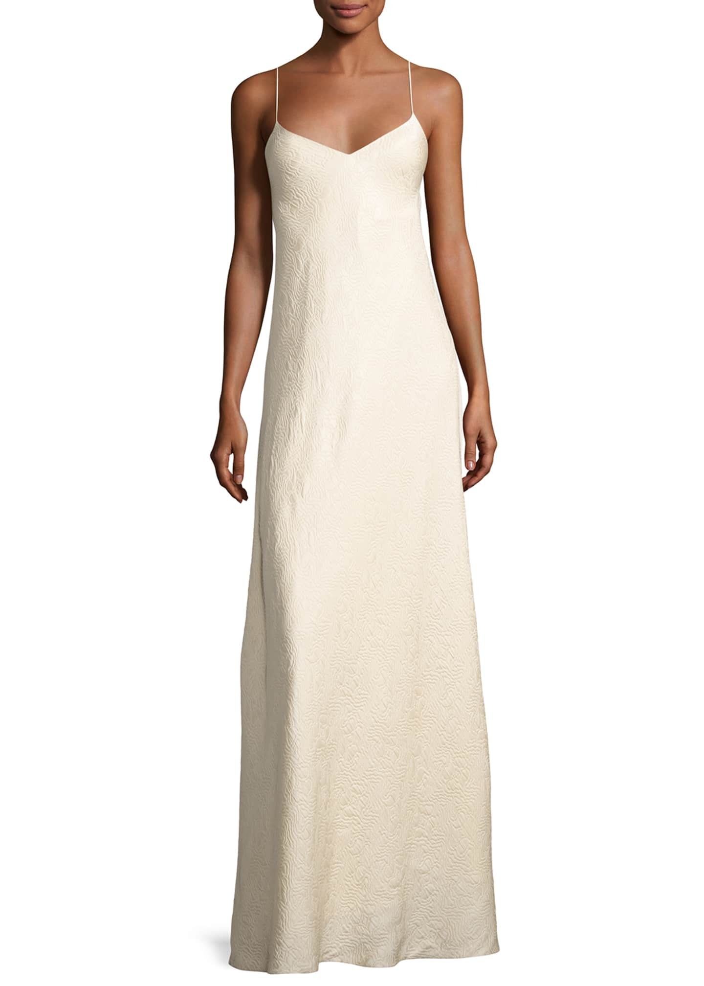THE ROW Vera Cloqu� V-Neck Gown, Neutral