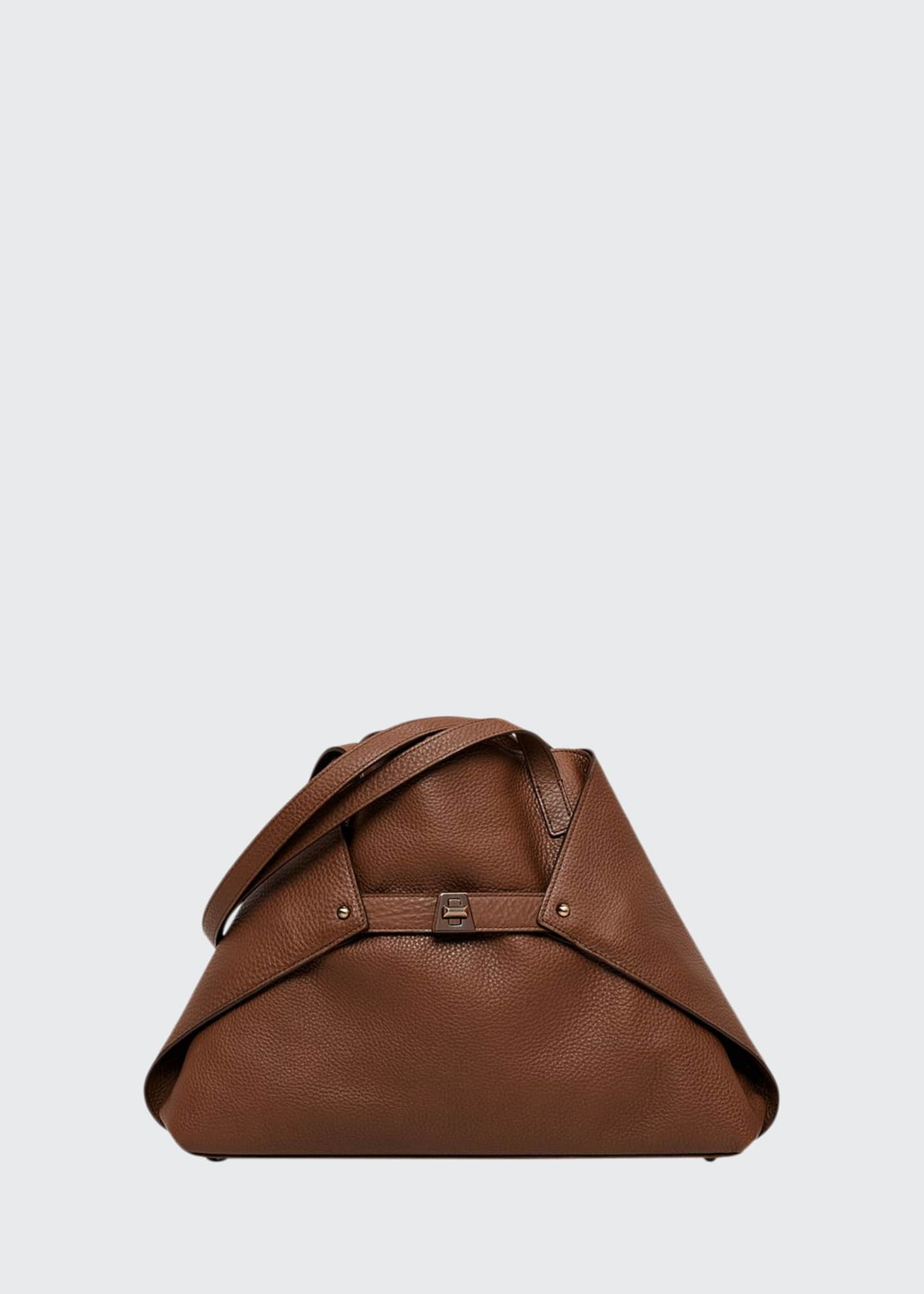 Akris Ai Small Leather Shoulder Tote Bag, Caramel