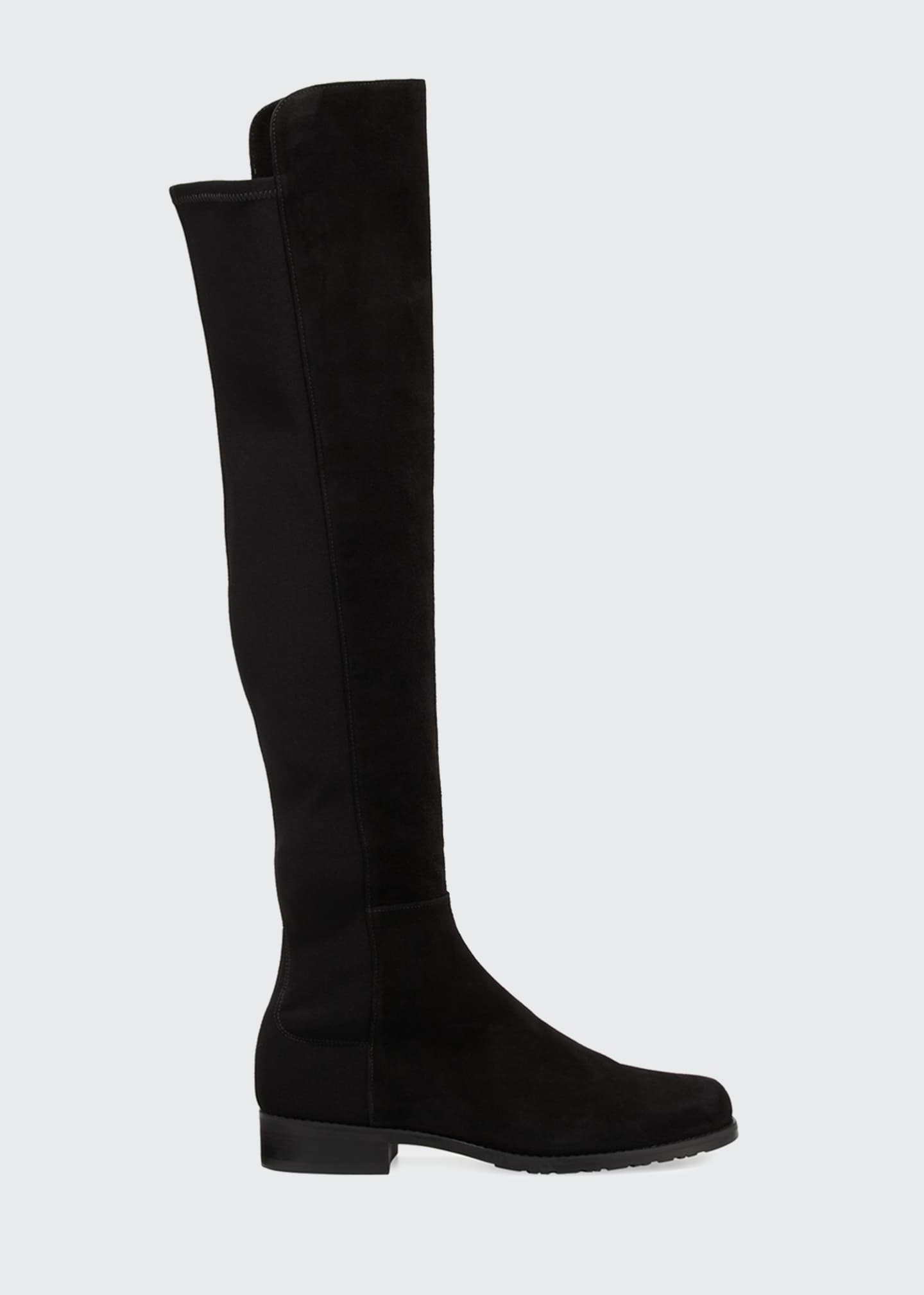 Image 2 of 5: 50/50 Suede Stretch Over-The-Knee Boots, Black