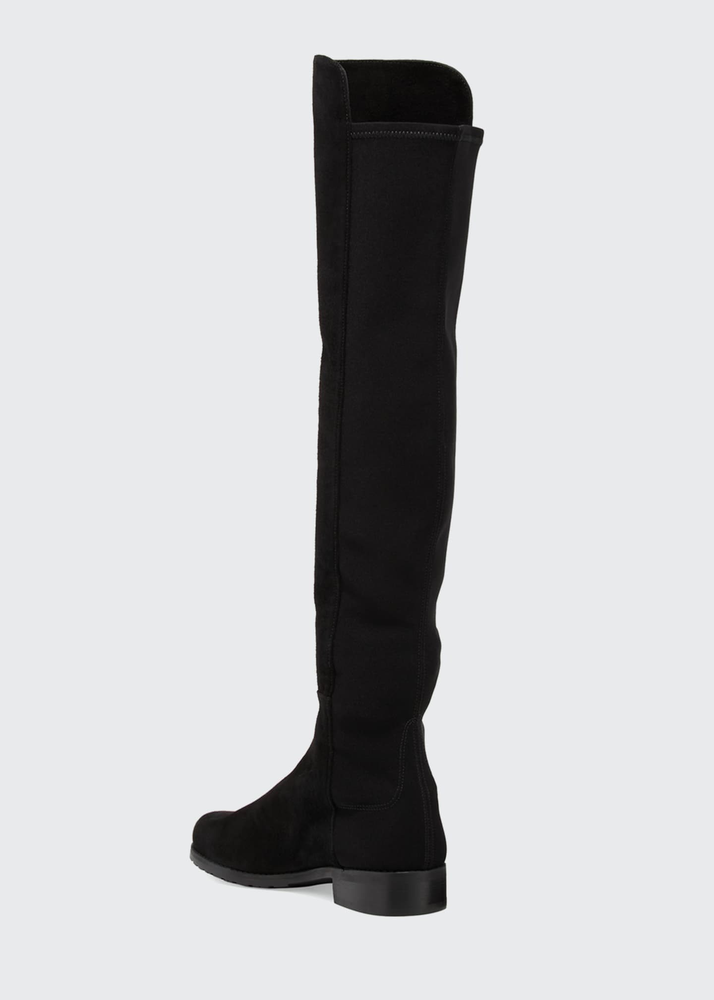 Image 4 of 5: 50/50 Suede Stretch Over-The-Knee Boots, Black