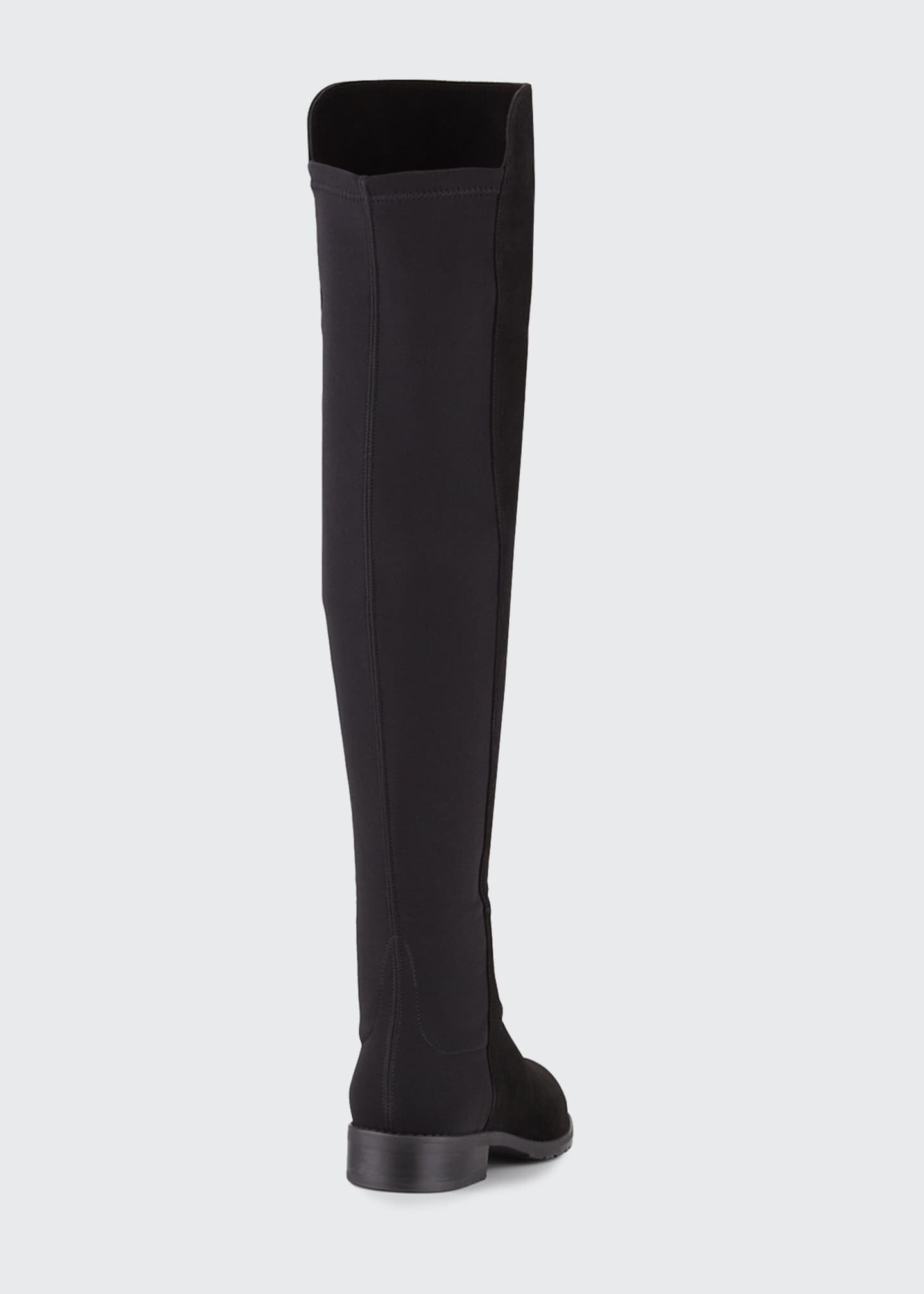 Image 5 of 5: 50/50 Suede Stretch Over-The-Knee Boots, Black