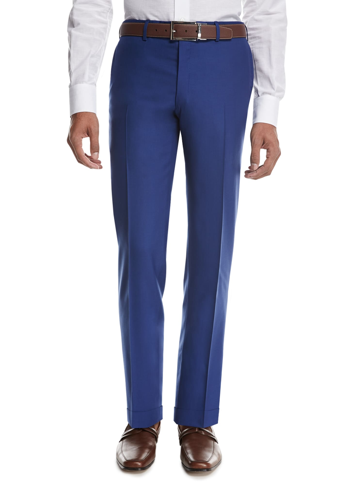 Kiton Tropical Wool-Cashmere Flat-Front Trousers, High Blue