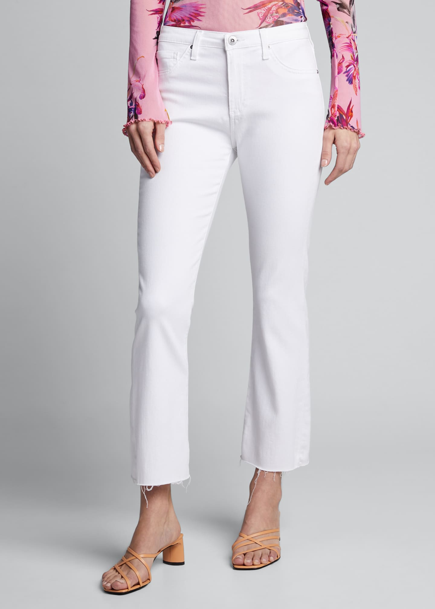 Image 3 of 5: The Jodi Crop Flare-Leg Jeans with Raw Hem