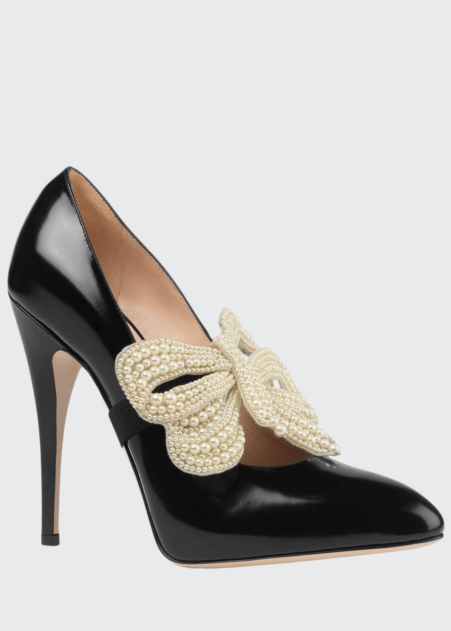 Gucci Elaisa Pearly Bow Pumps, Black