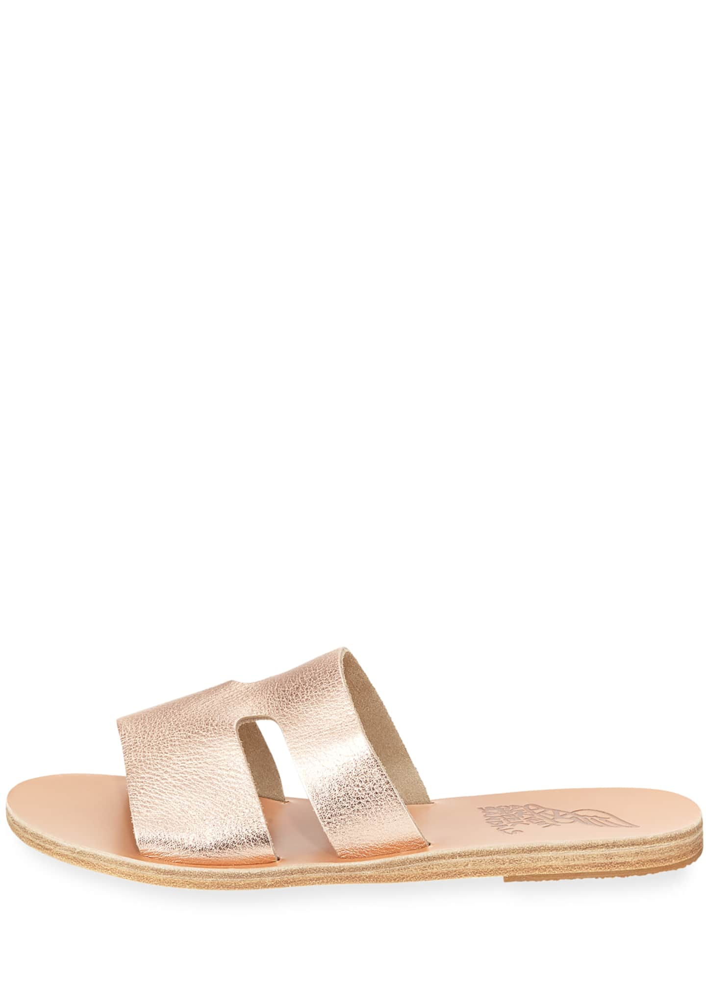 Image 2 of 3: Apteros Cutout Leather Flat Slide Sandals, Sand
