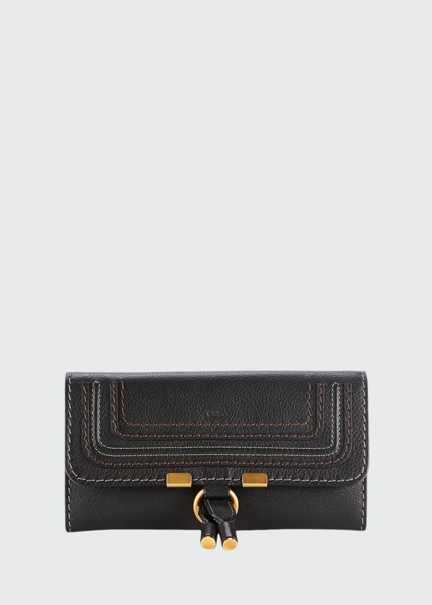 Chloe Marcie Calfskin Zip-Around Wallet, Black