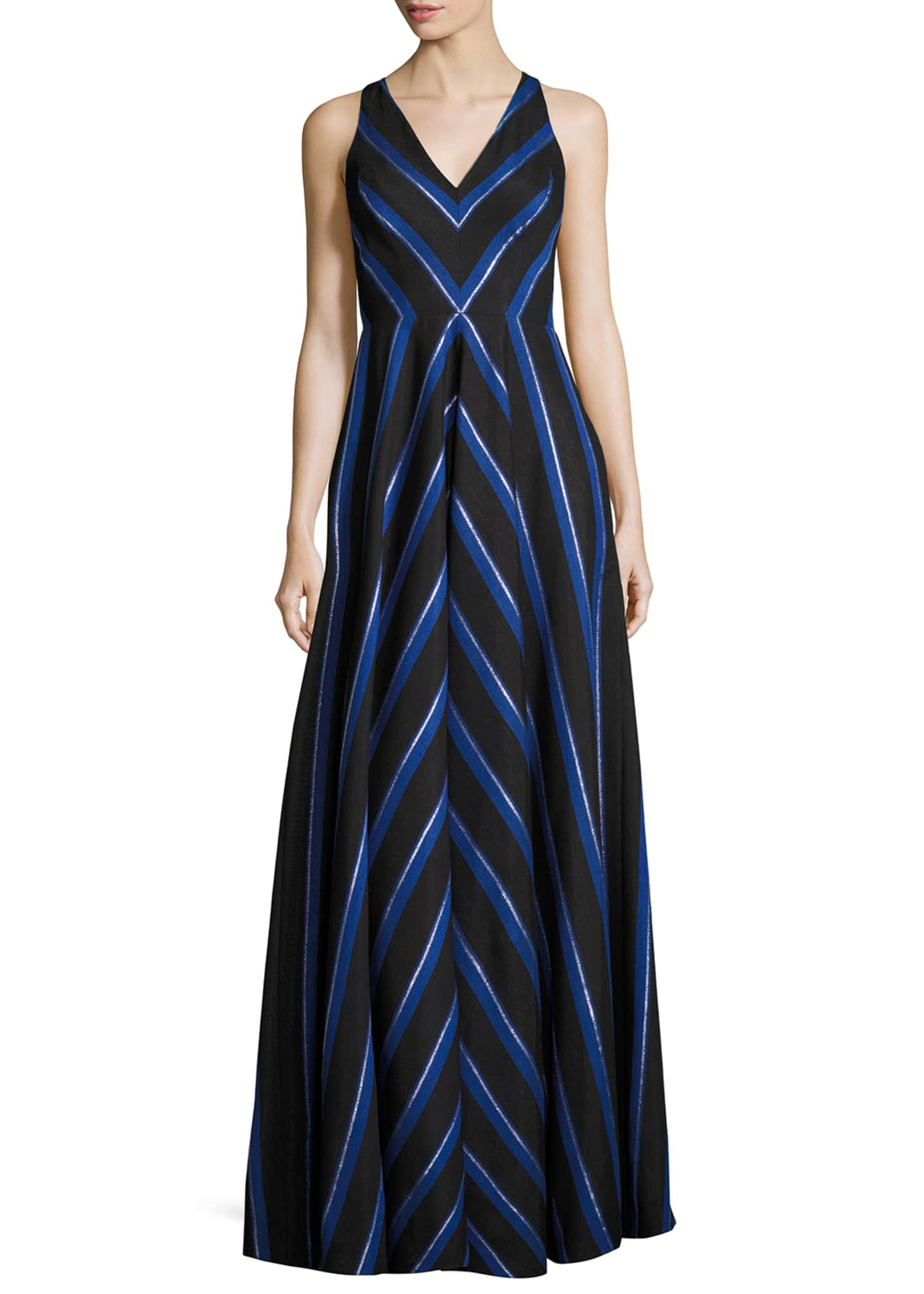 Image 1 of 2: Sleeveless Striped Ball Gown