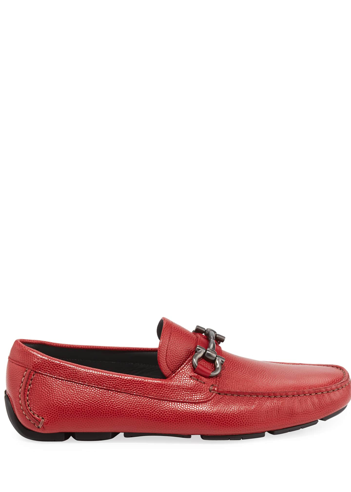 Image 2 of 4: Men's Leather Gancini Driver, Red