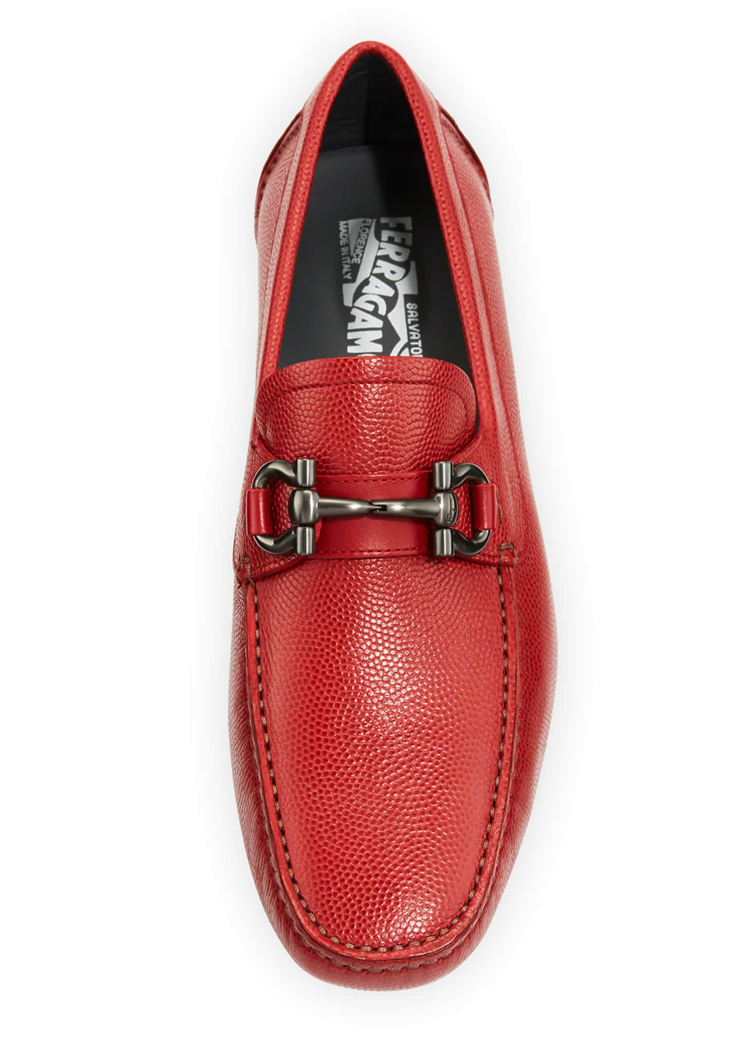 Image 3 of 4: Men's Leather Gancini Driver, Red