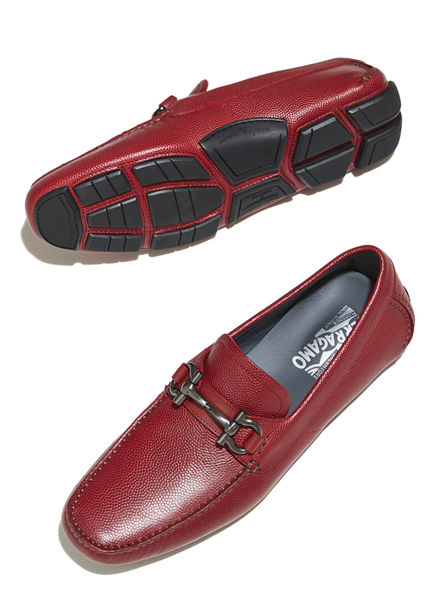 Image 4 of 4: Men's Leather Gancini Driver, Red