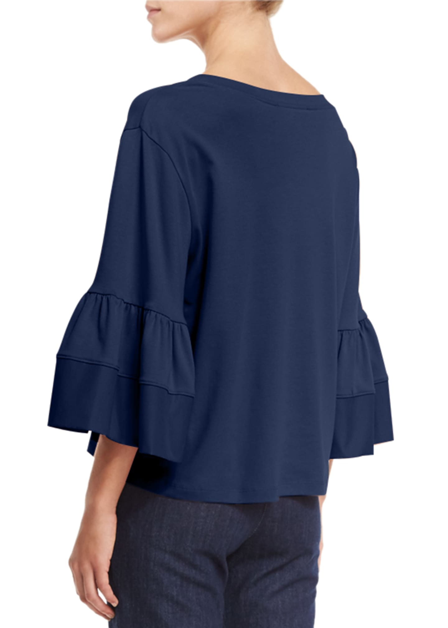 Image 2 of 3: Fluid Jersey Bell-Sleeve Top, Navy
