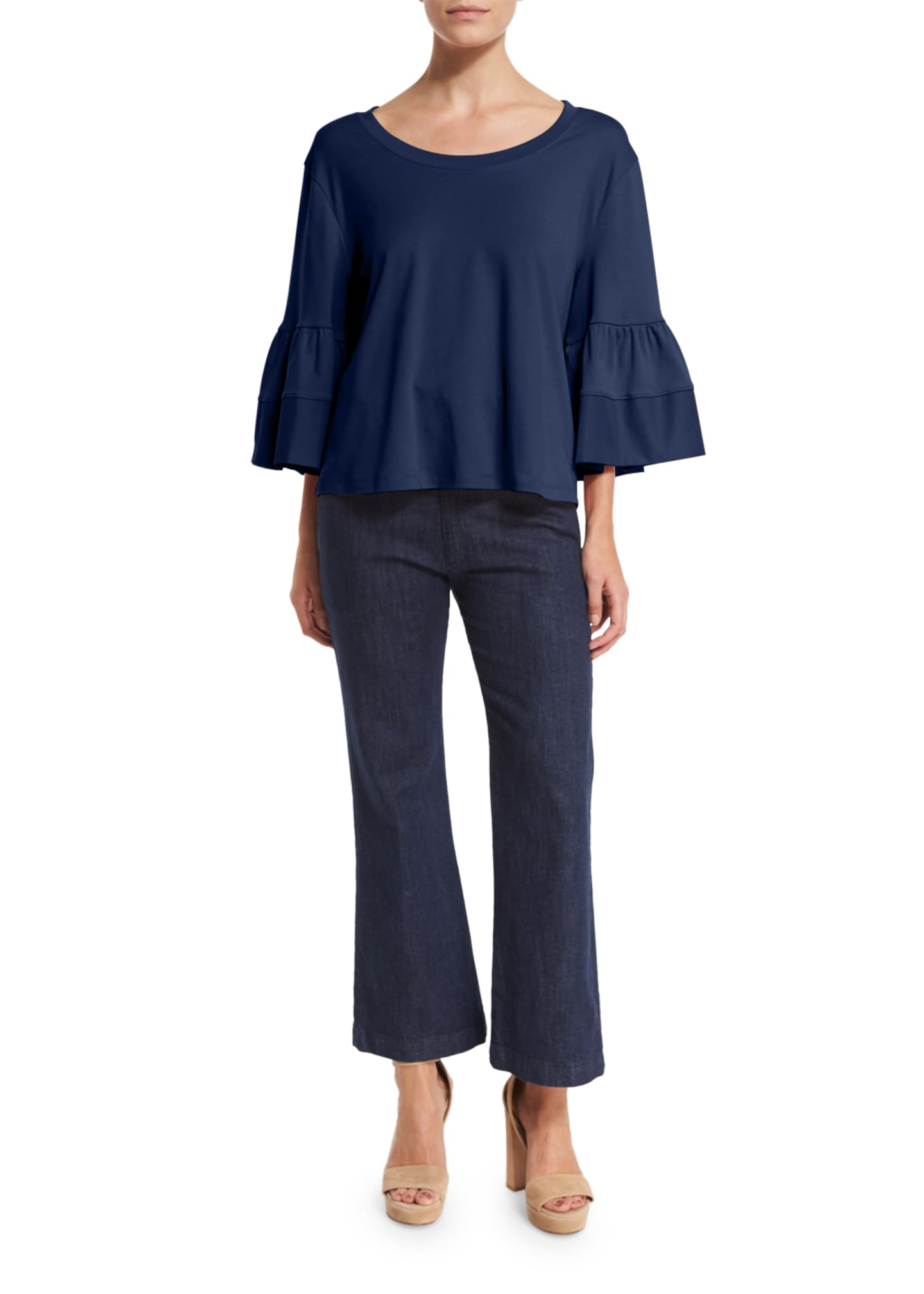Image 3 of 3: Fluid Jersey Bell-Sleeve Top, Navy