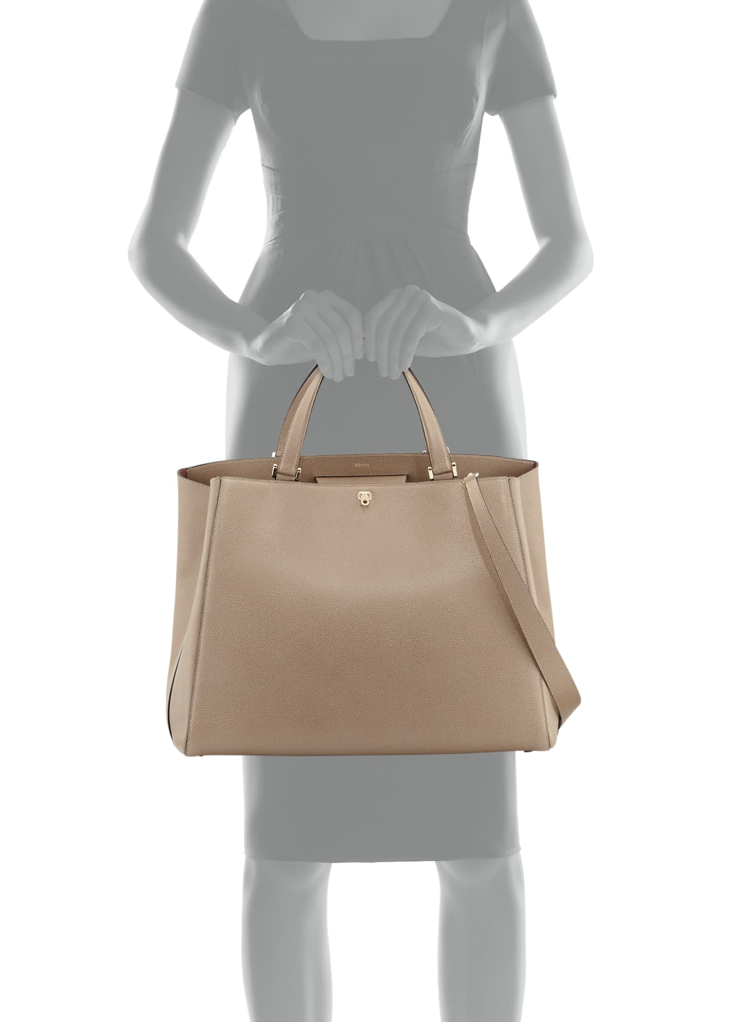 Image 3 of 3: Brera Large Leather Top-Handle Tote Bag