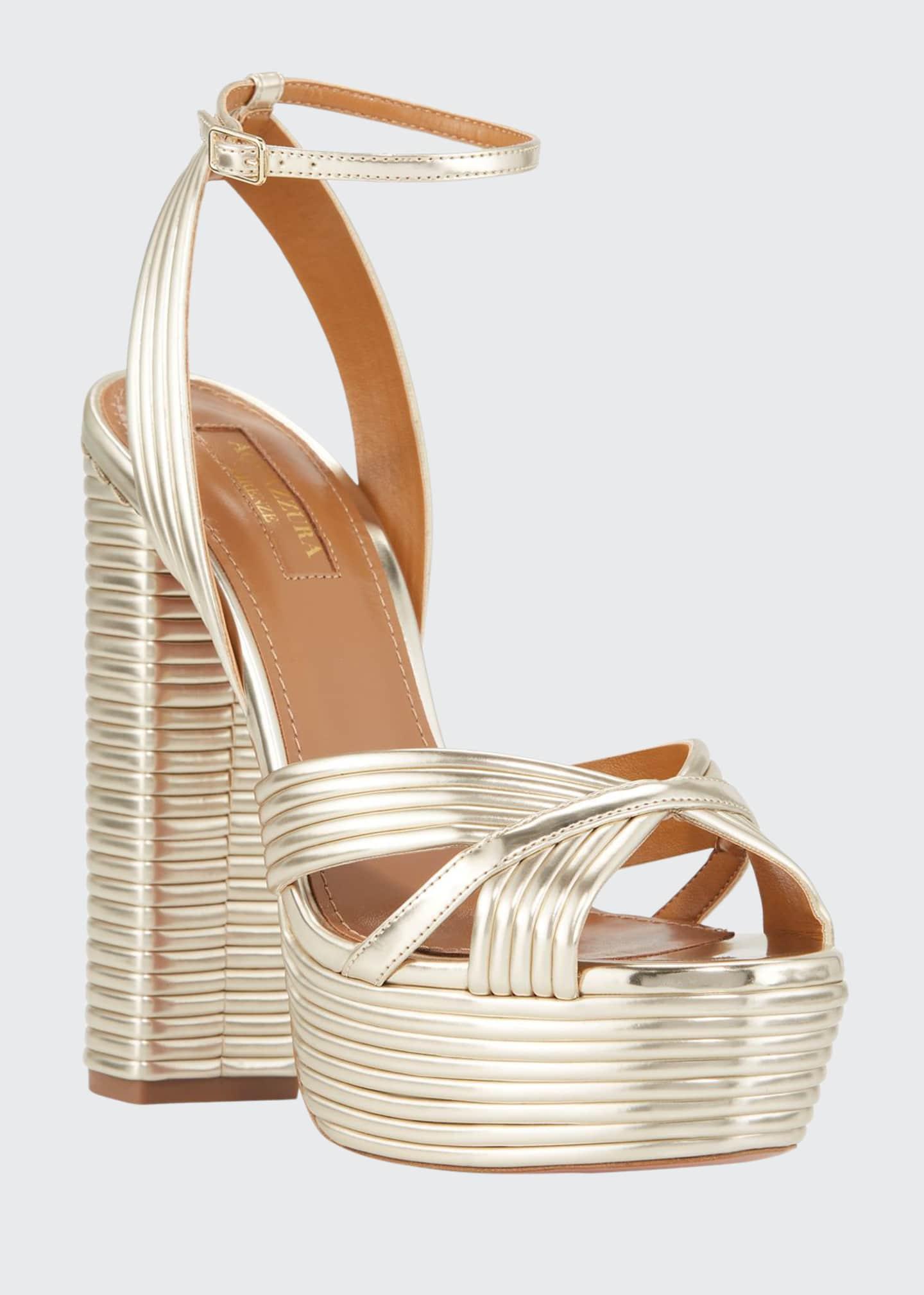 Aquazzura Sundance Plateau Metallic Platform Sandals