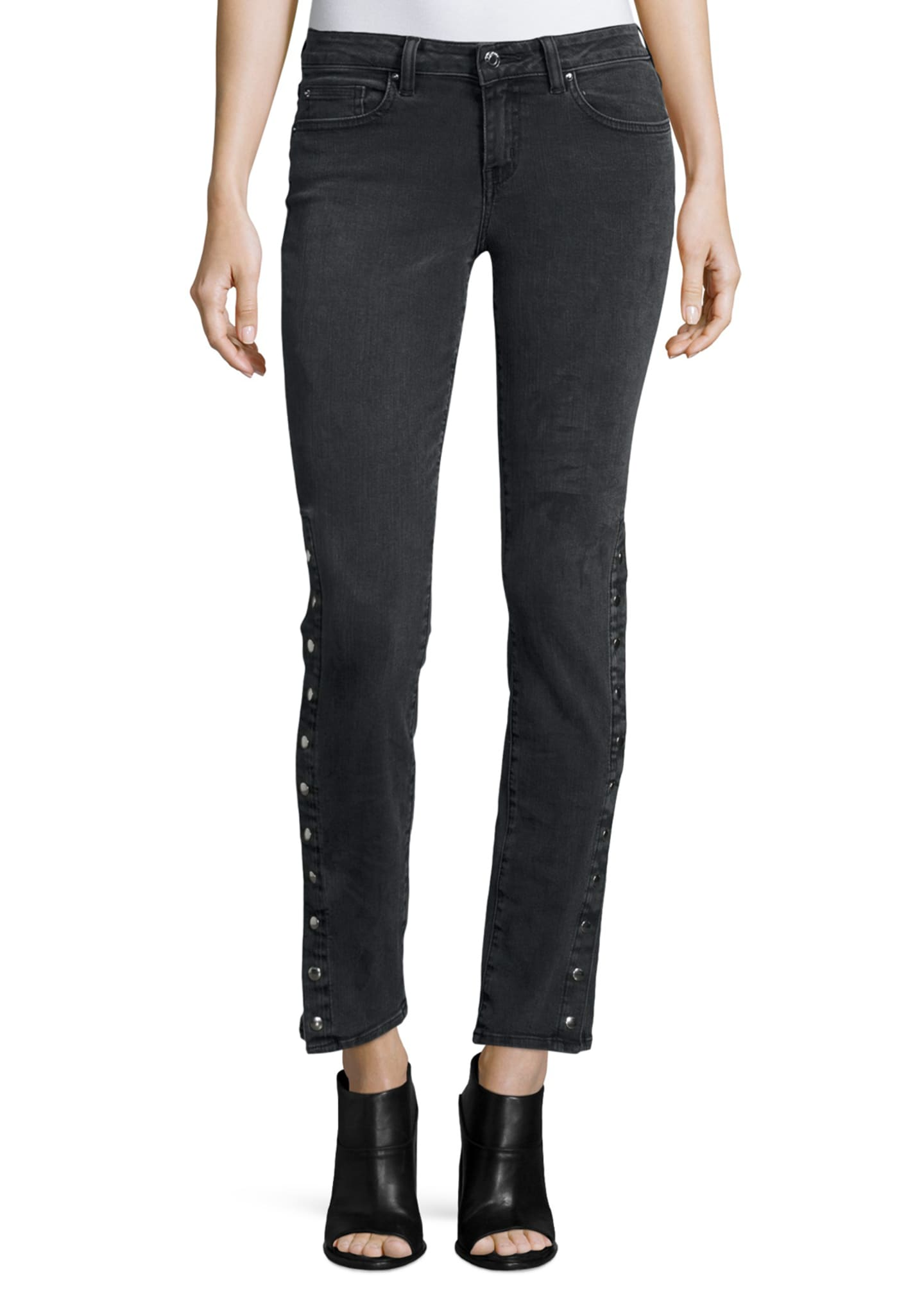 Iro Biba Side-Snap Skinny Jeans, Black