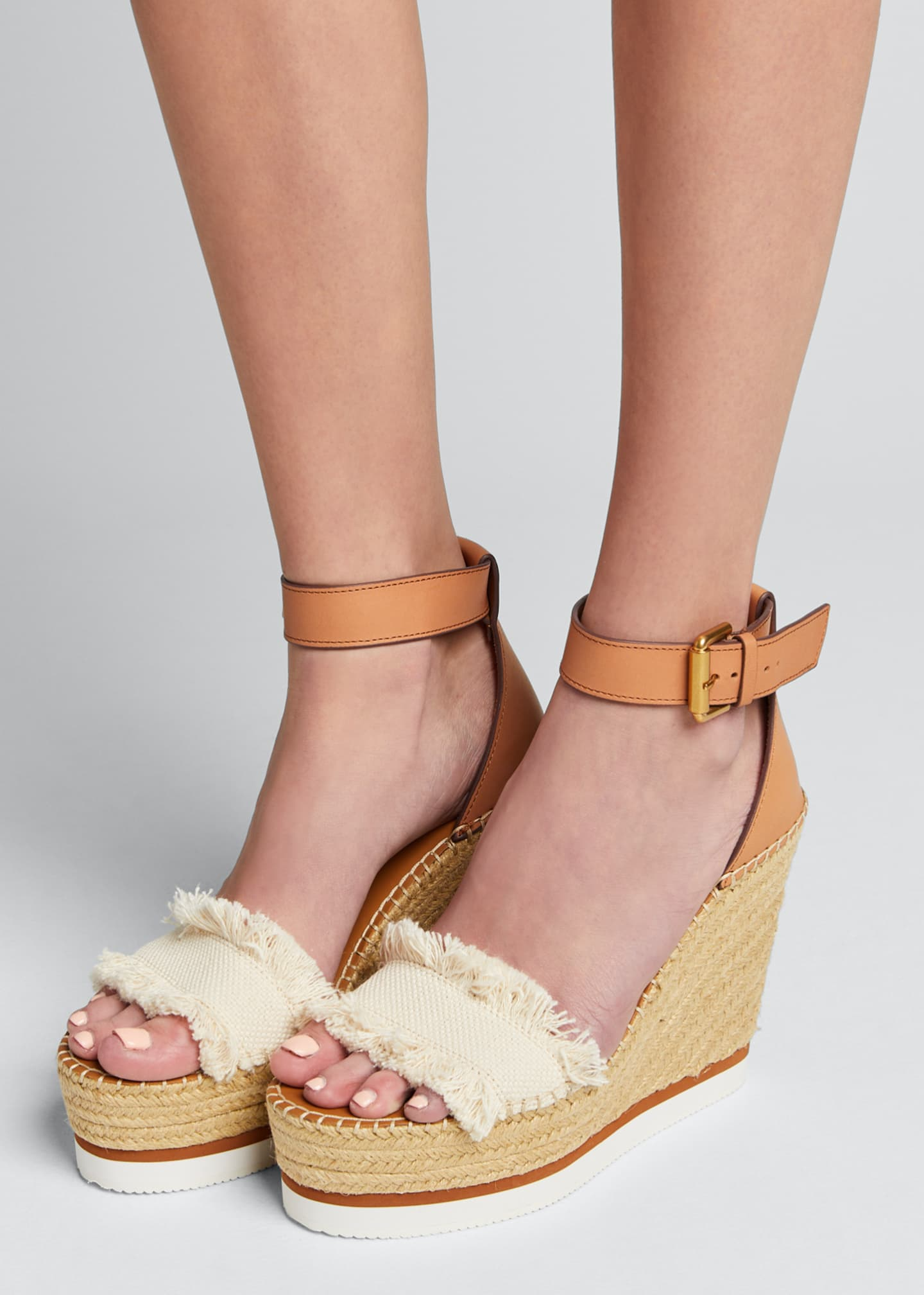 Image 2 of 5: Glyn Canvas & Leather Espadrille Sandal, Cream/Tan