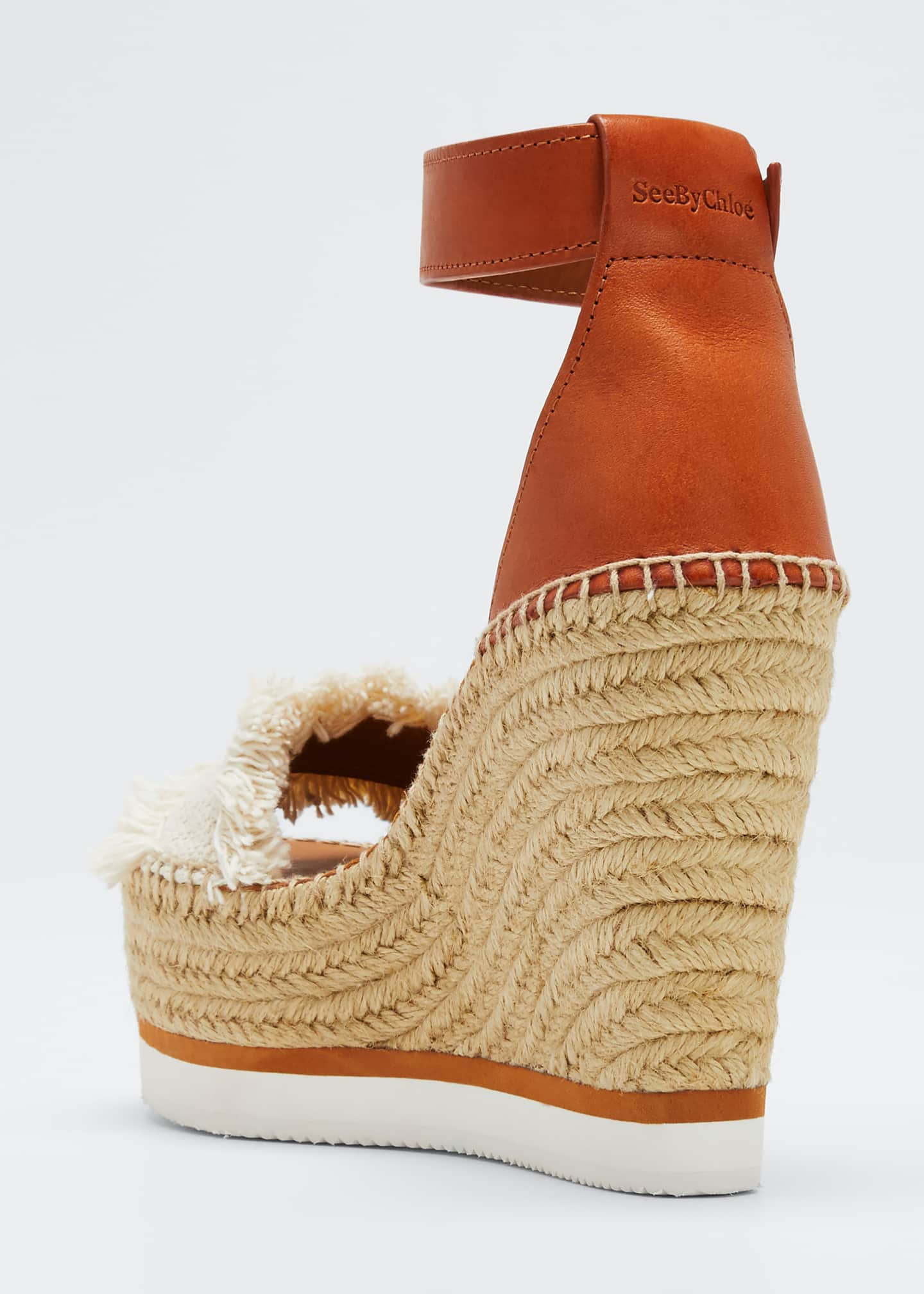 Image 4 of 5: Glyn Canvas & Leather Espadrille Sandal, Cream/Tan