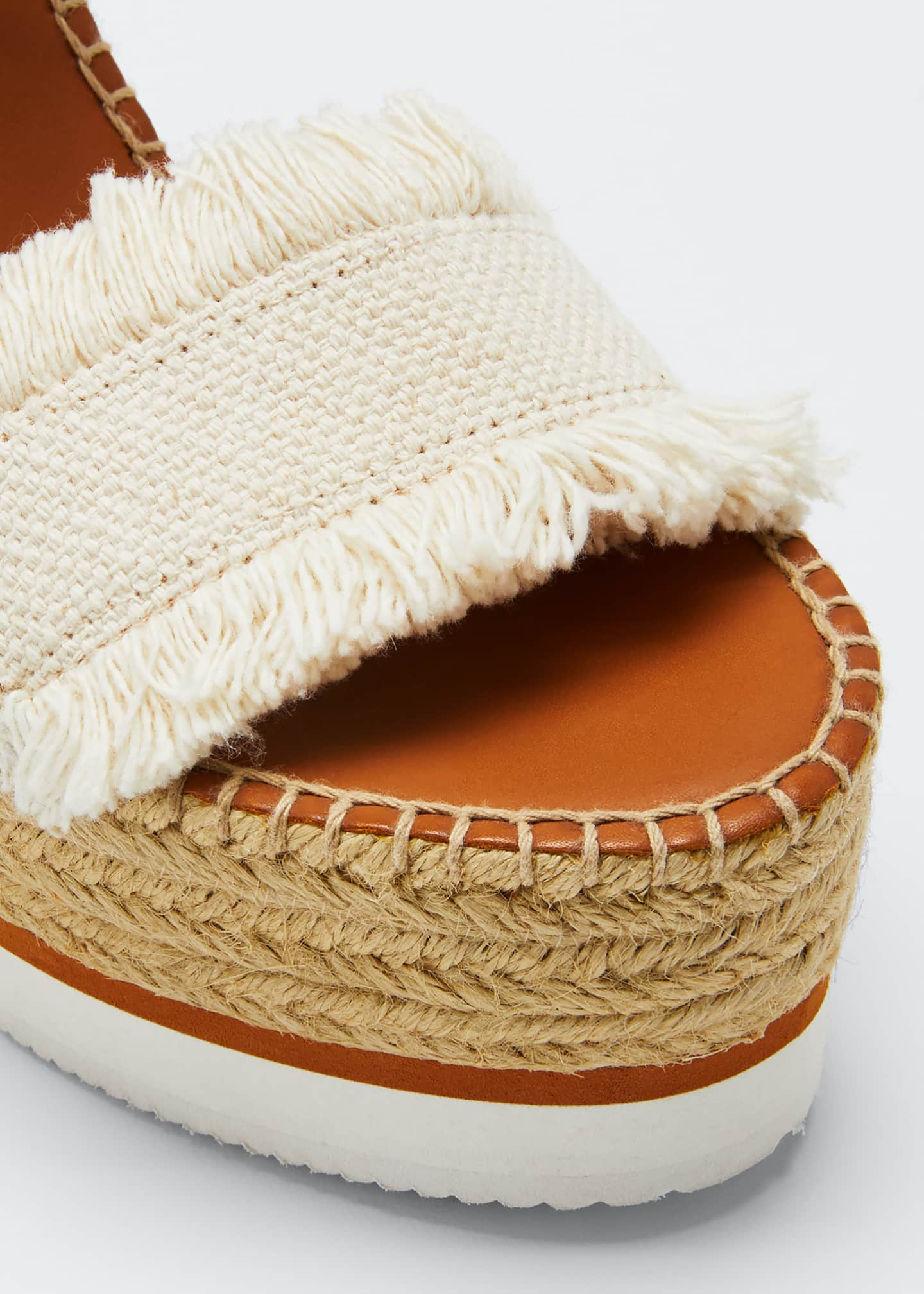 Image 5 of 5: Glyn Canvas & Leather Espadrille Sandal, Cream/Tan
