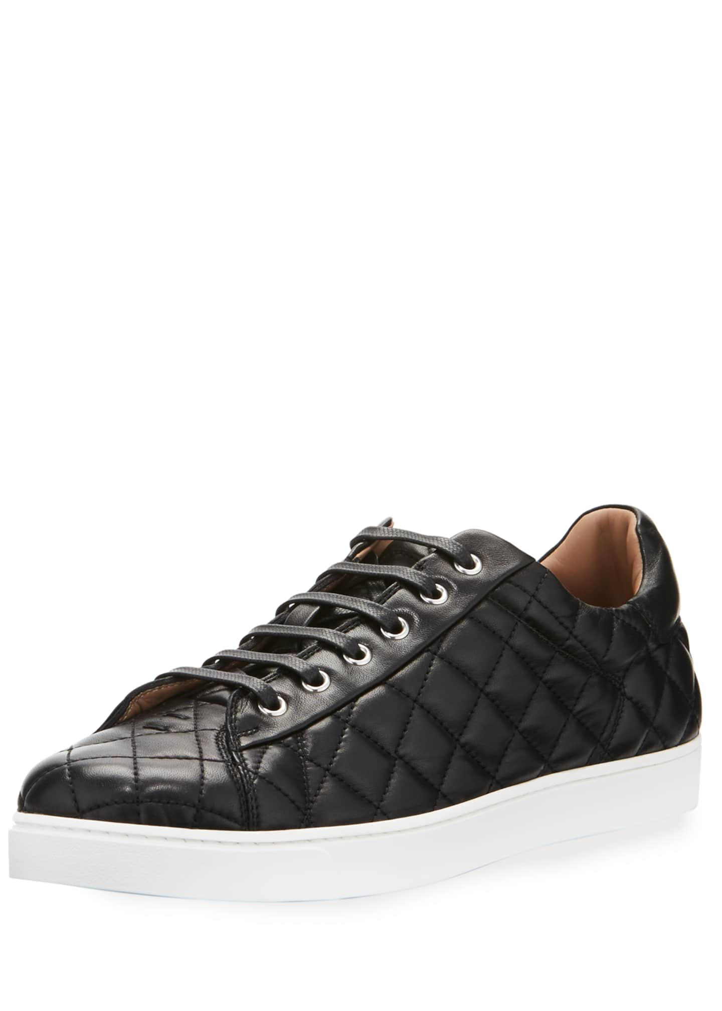 Gianvito Rossi Men's Quilted Leather Low-Top Sneakers, Black