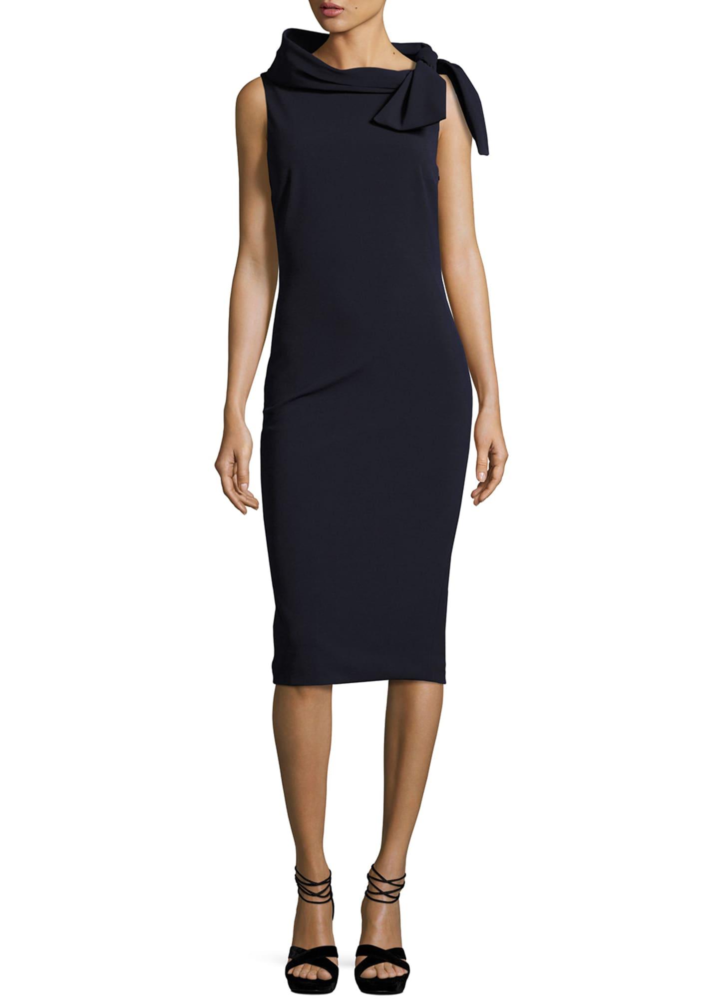 Badgley Mischka Collection Sleeveless Tie-Neck Cocktail Dress