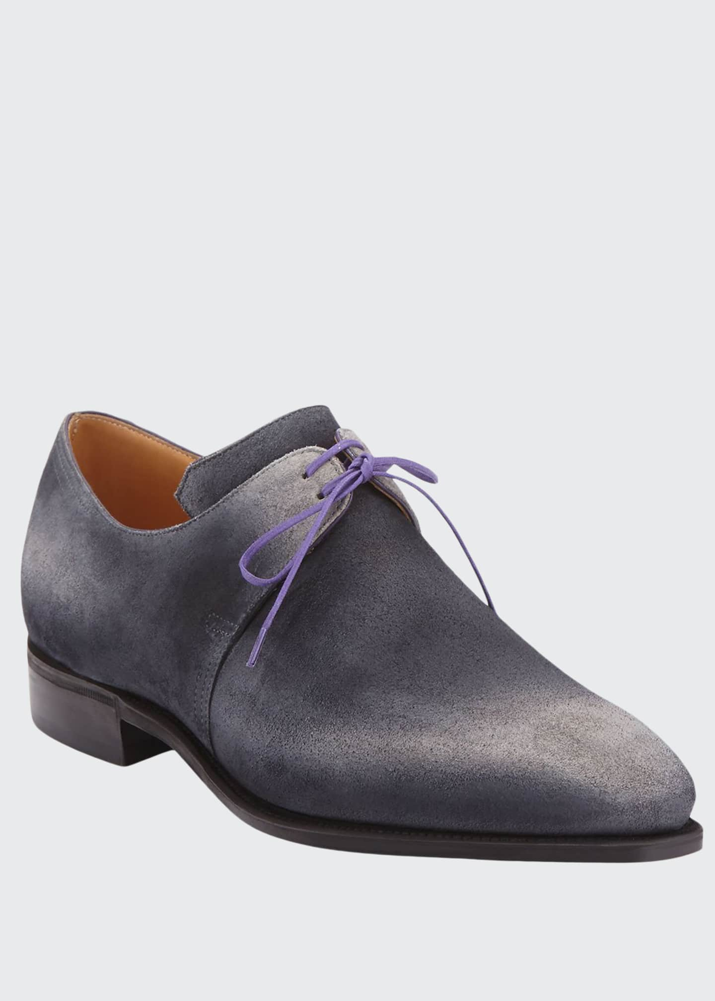 Corthay Arca Suede Derby Shoe with Flint Patina