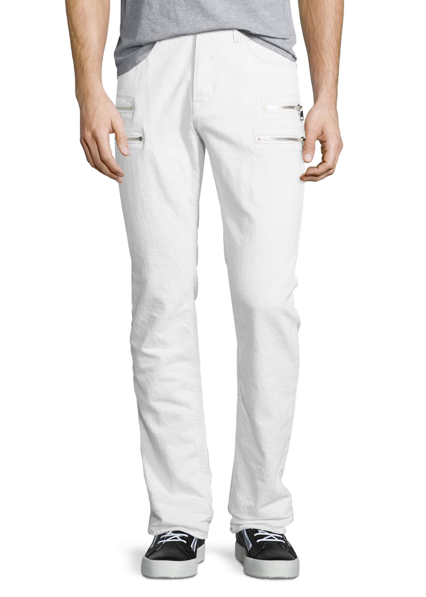 Hudson Broderick Slouchy Skinny Jeans, Beige/White