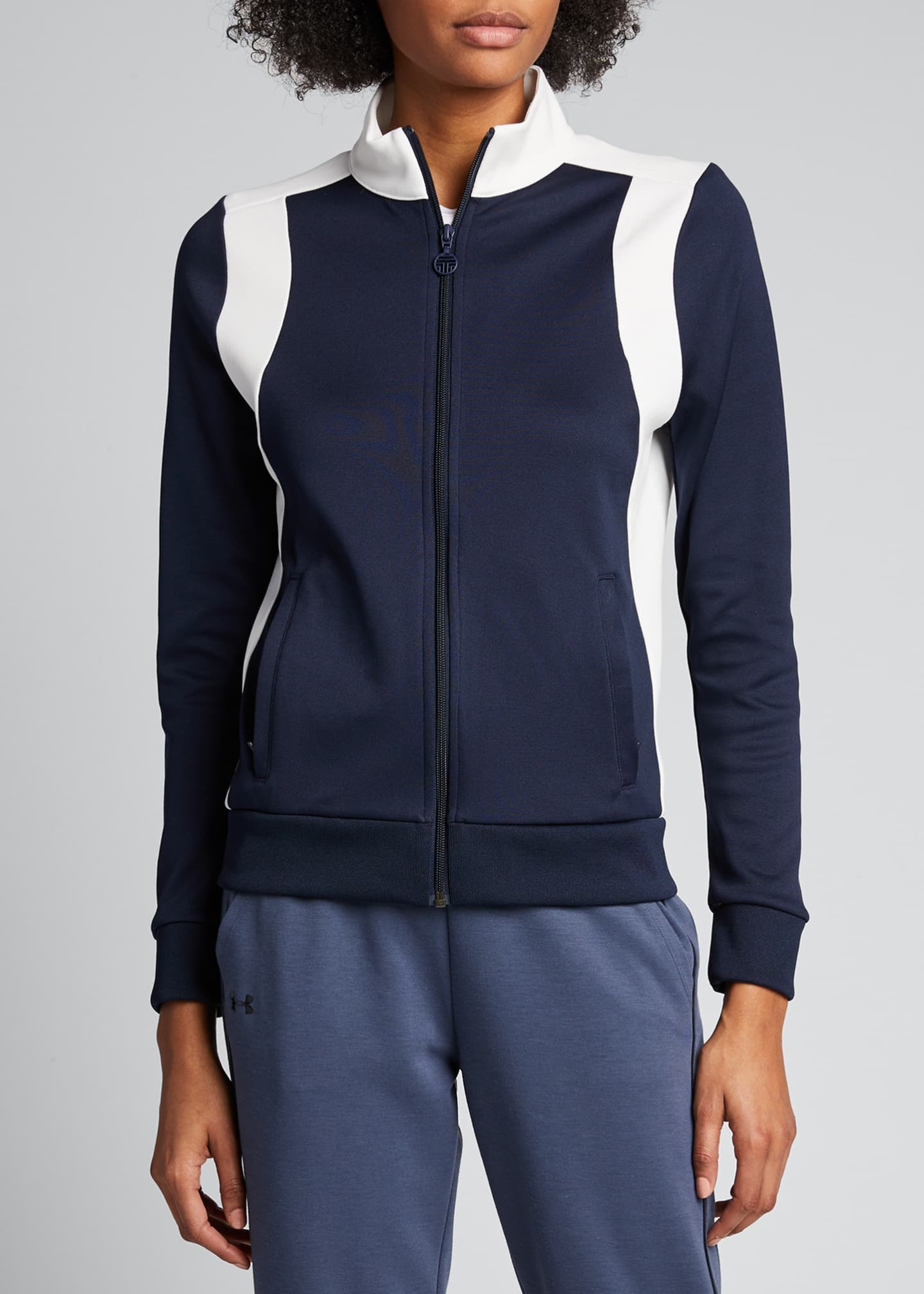 Image 3 of 5: Colorblock Track Jacket, Blue/White