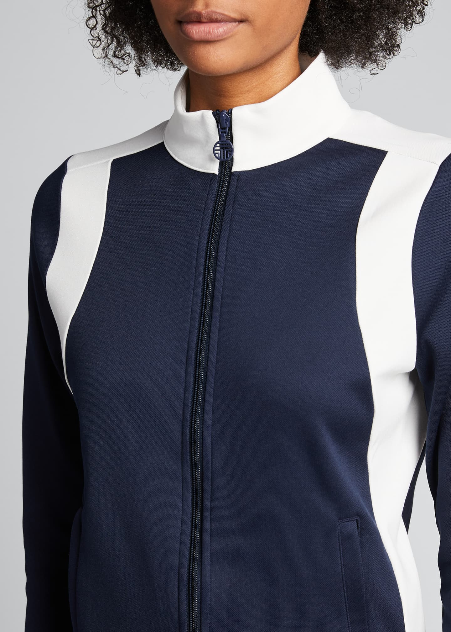 Image 4 of 5: Colorblock Track Jacket, Blue/White