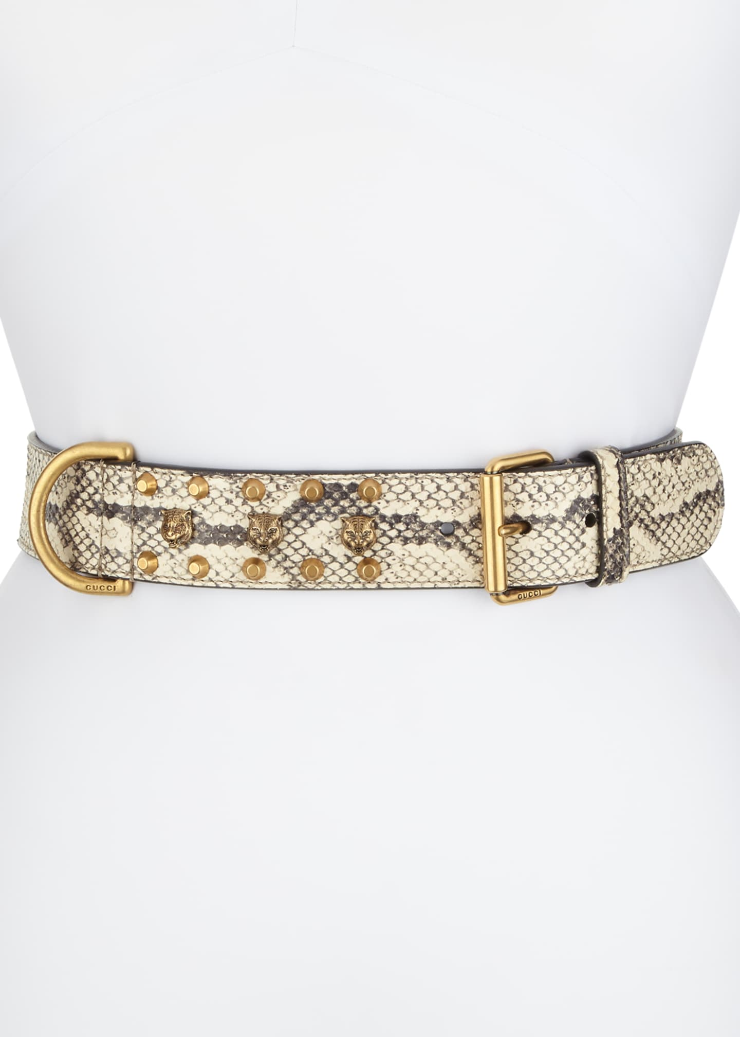 Gucci Python Tiger-Detail Belt